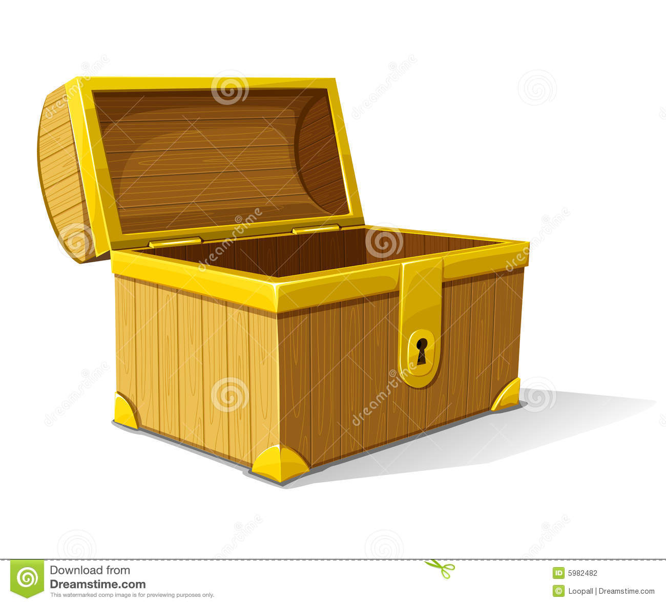 Vector Old Wooden Box Opened Stock Photography Image