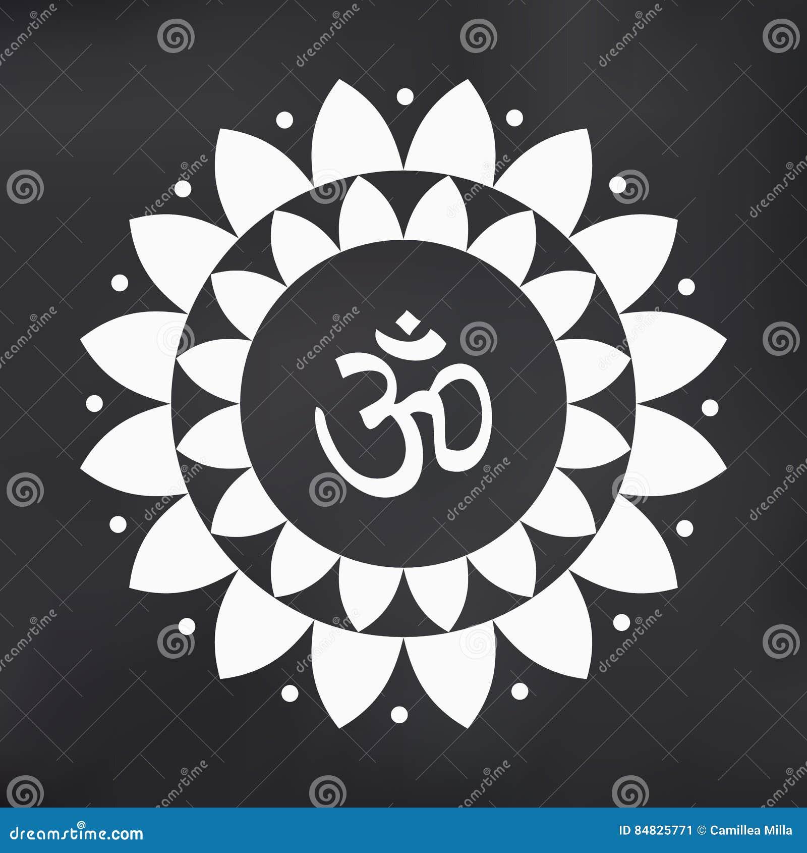 Vector Om Symbol Hindu In Lotus Flower Mandala Illustration Stock
