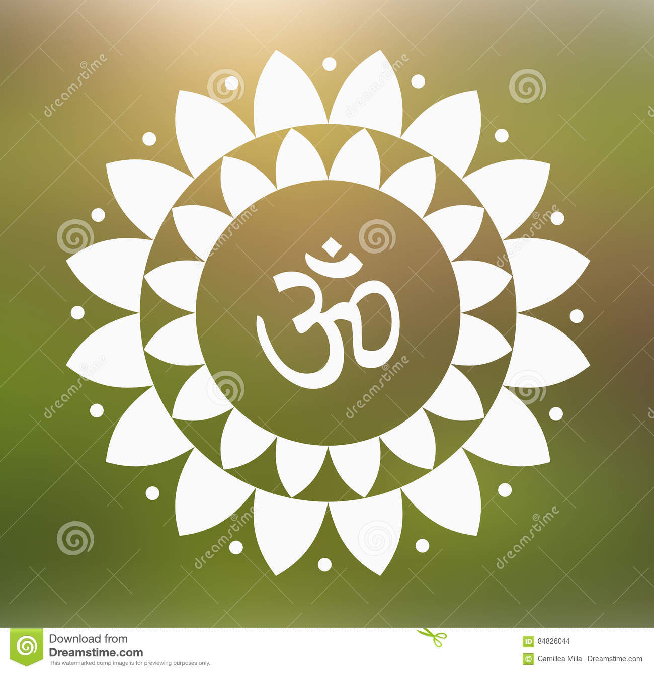 Vector Om Symbol Hindu In Lotus Flower Mandala Illustration Stock