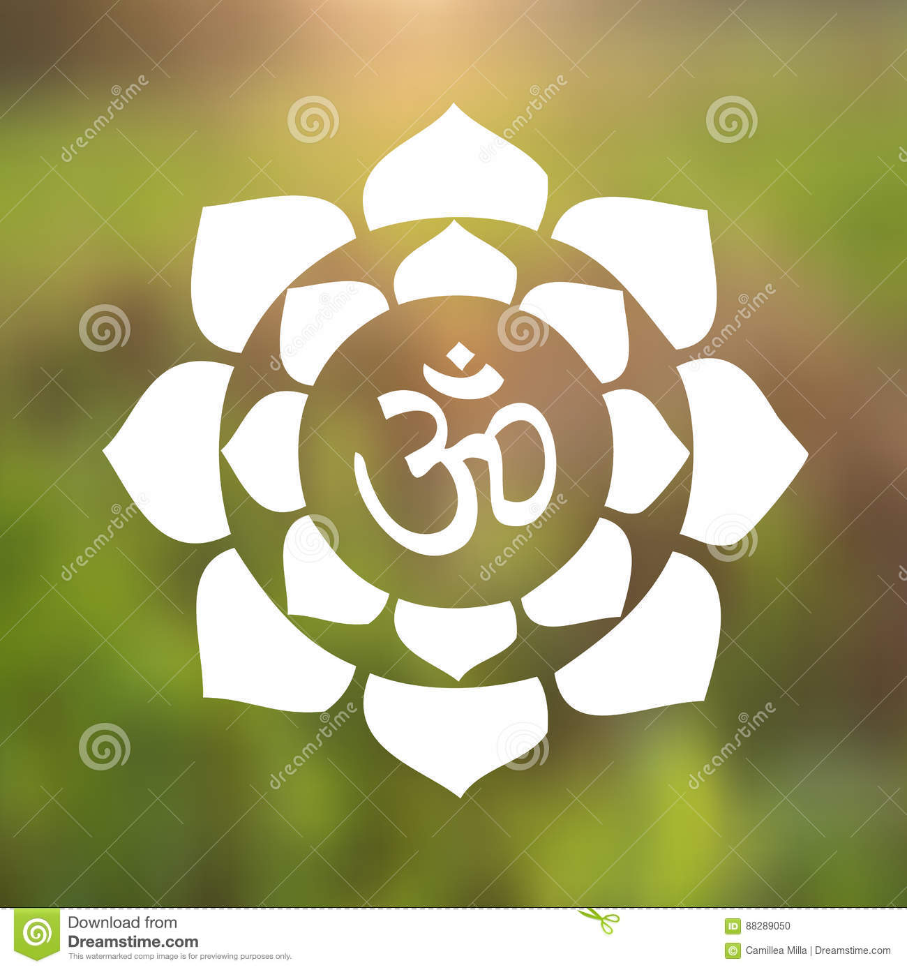 vector om symbol hindu in lotus flower mandala illustration stock, Beautiful flower