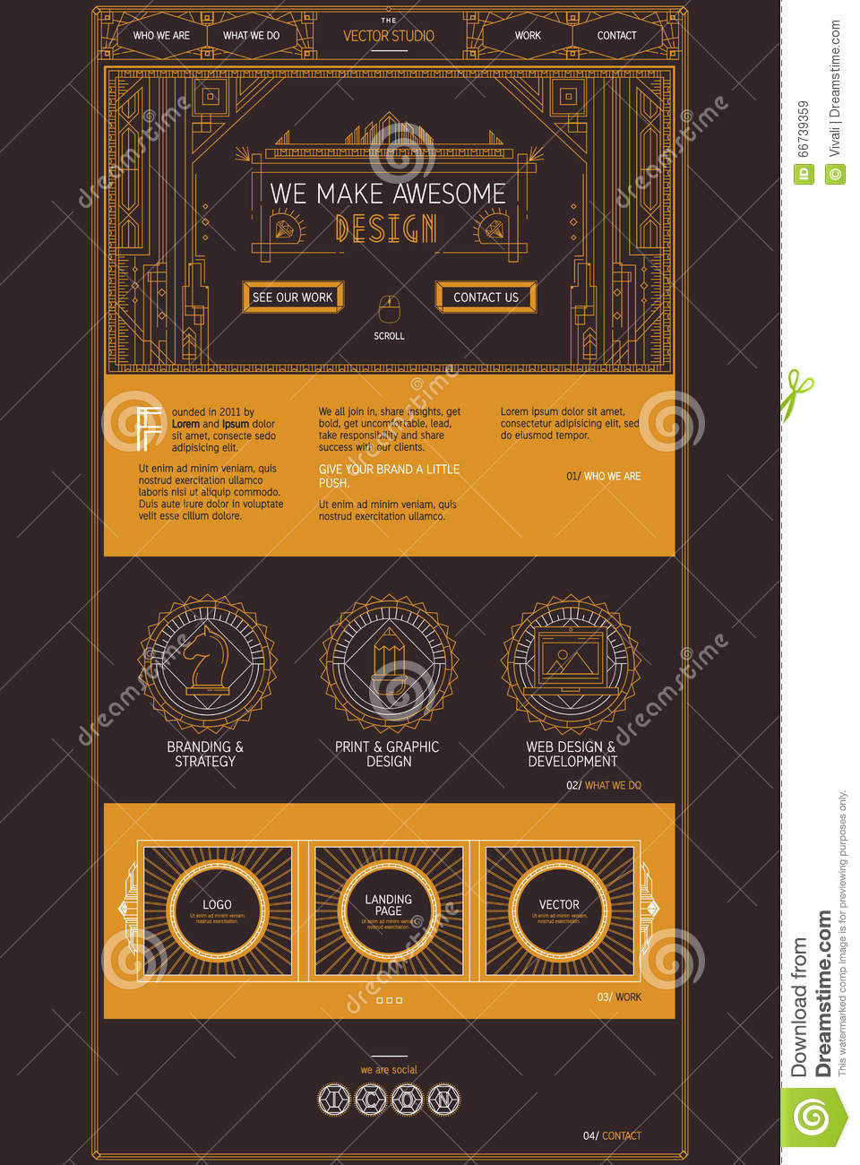 vector one page web site template of creative design studio services design in trendy art deco. Black Bedroom Furniture Sets. Home Design Ideas
