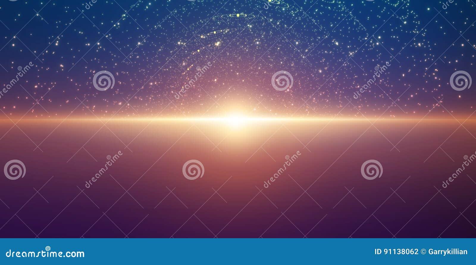 Vector oneindige ruimteachtergrond Matrijs van gloeiende sterren met illusie van diepte en perspectief