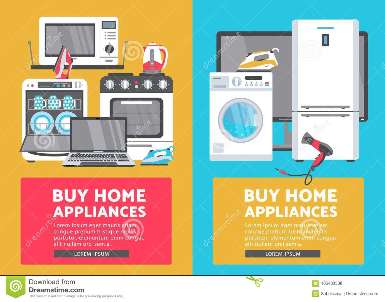 Vector Flat Home Appliance Sale Icon Set Stock Vector Illustration