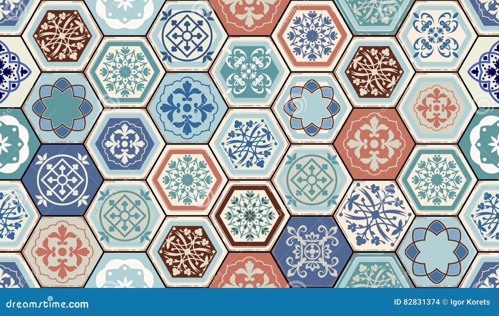 Vector oosters naadloos patroon realistische uitstekende marokkaanse portugese hexagonale - Oosters stof ...