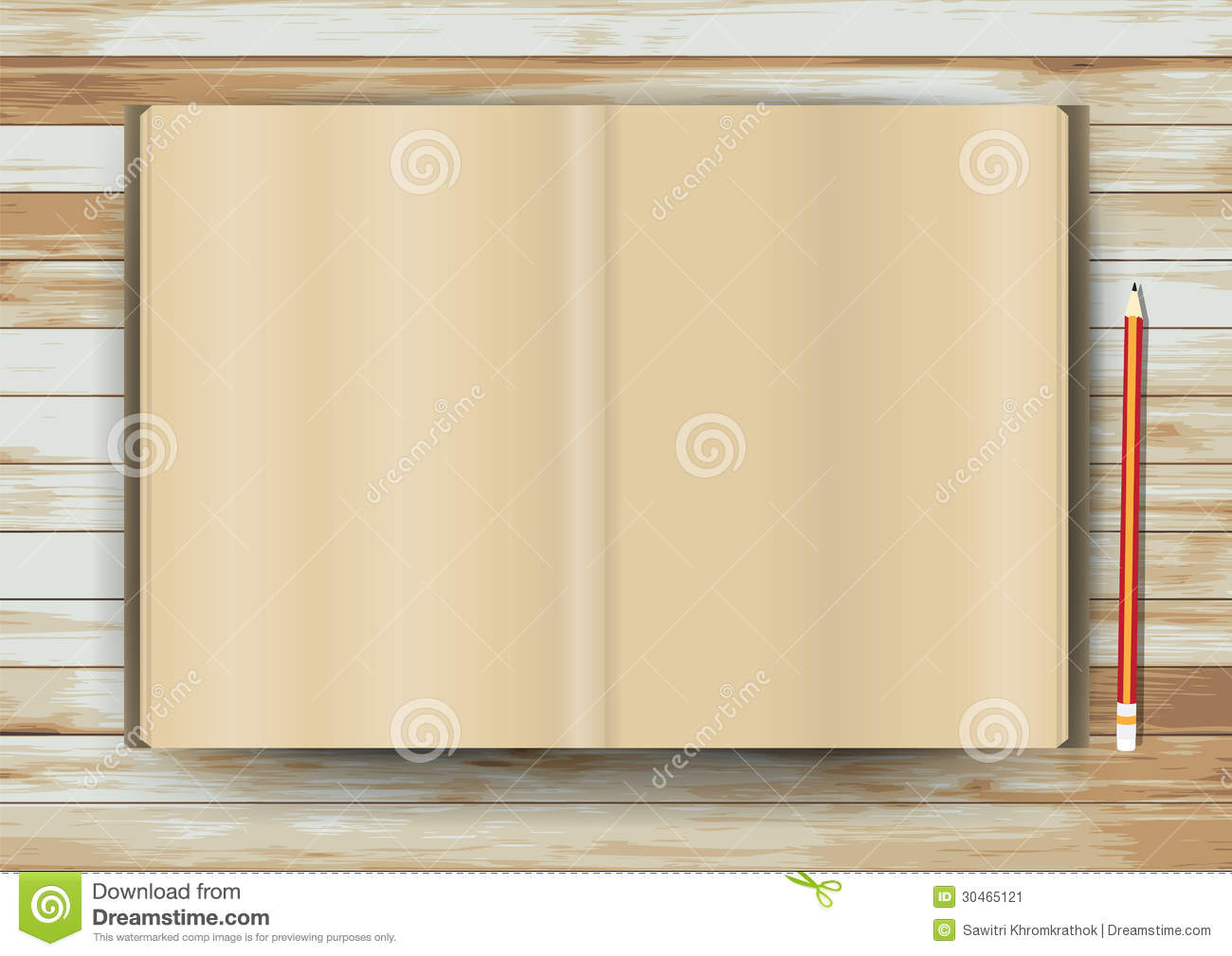 Vector Open Book On Wood Texture Background Stock Vector