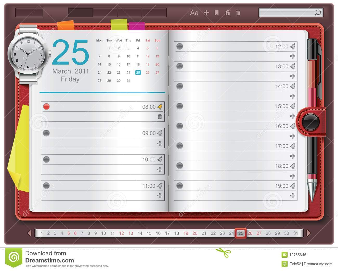 Detailed personal organizer template with calendar and watch - can be ...