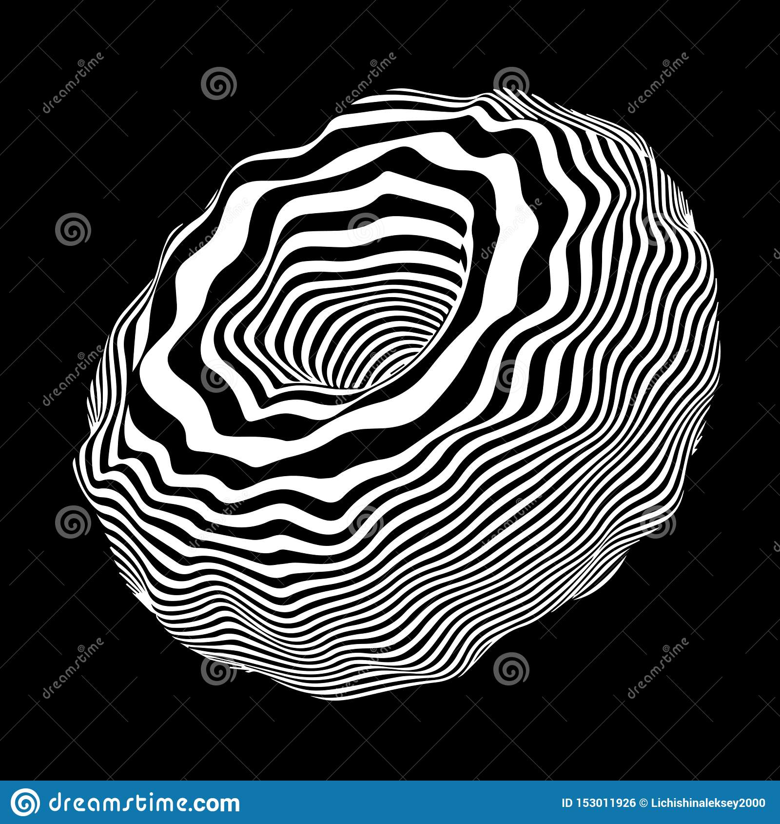 Vector optical illusion. Abstract curve sphere whith black and white lines