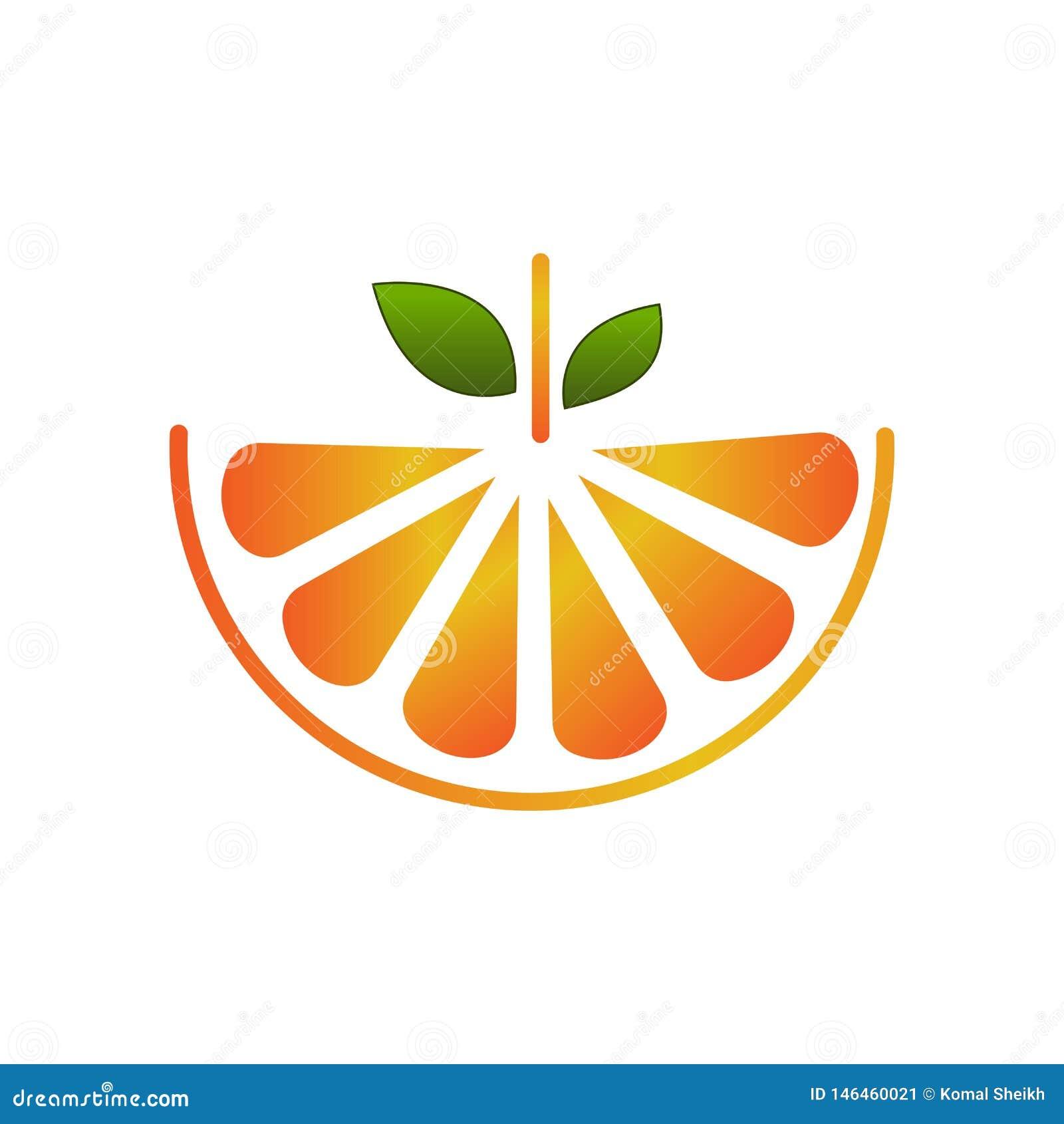 Vector fruit logo creative orange slice design illustration