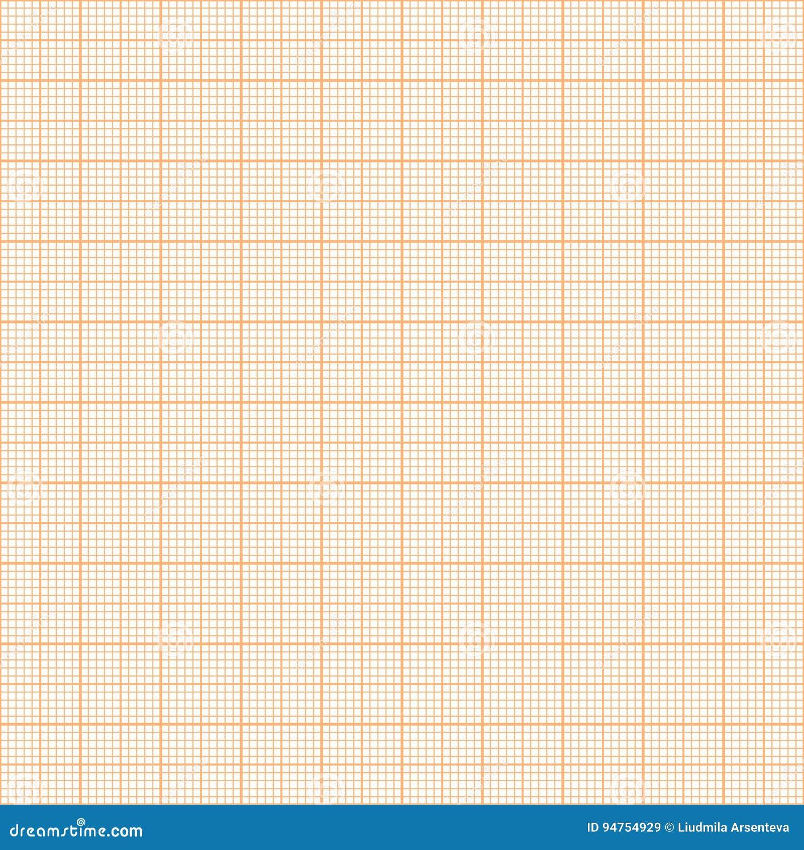 vector orange metric graph paper seamless pattern stock