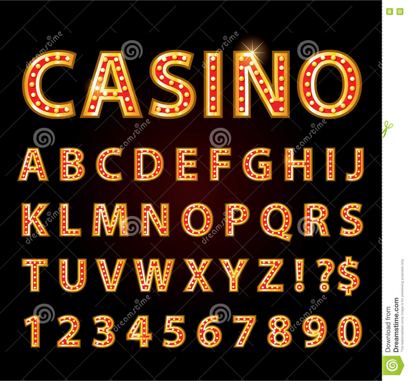 vector orange neon lamp letters font show cinema or