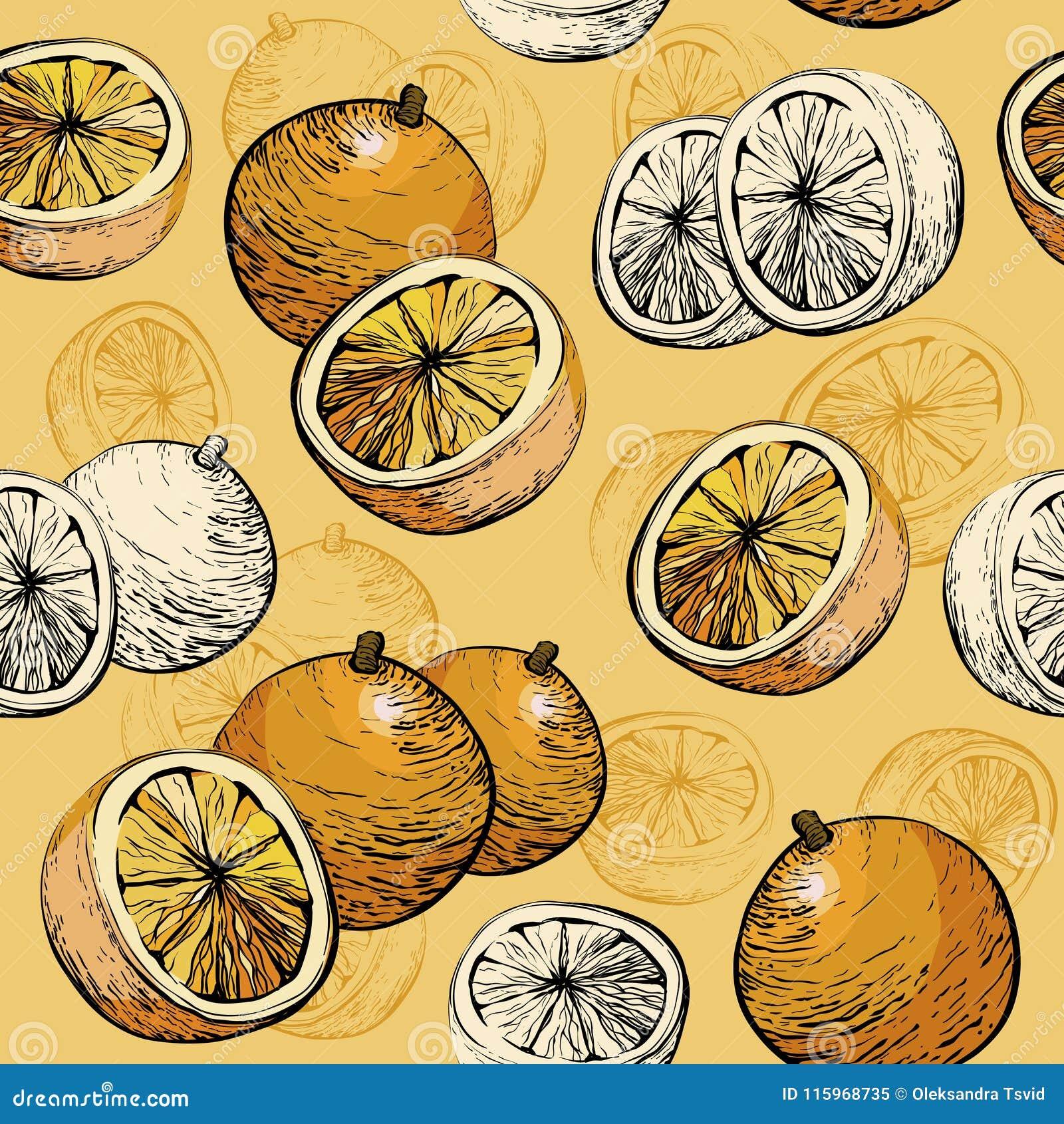 Orange Seamless background. Citrus fruit Juicy pattern.