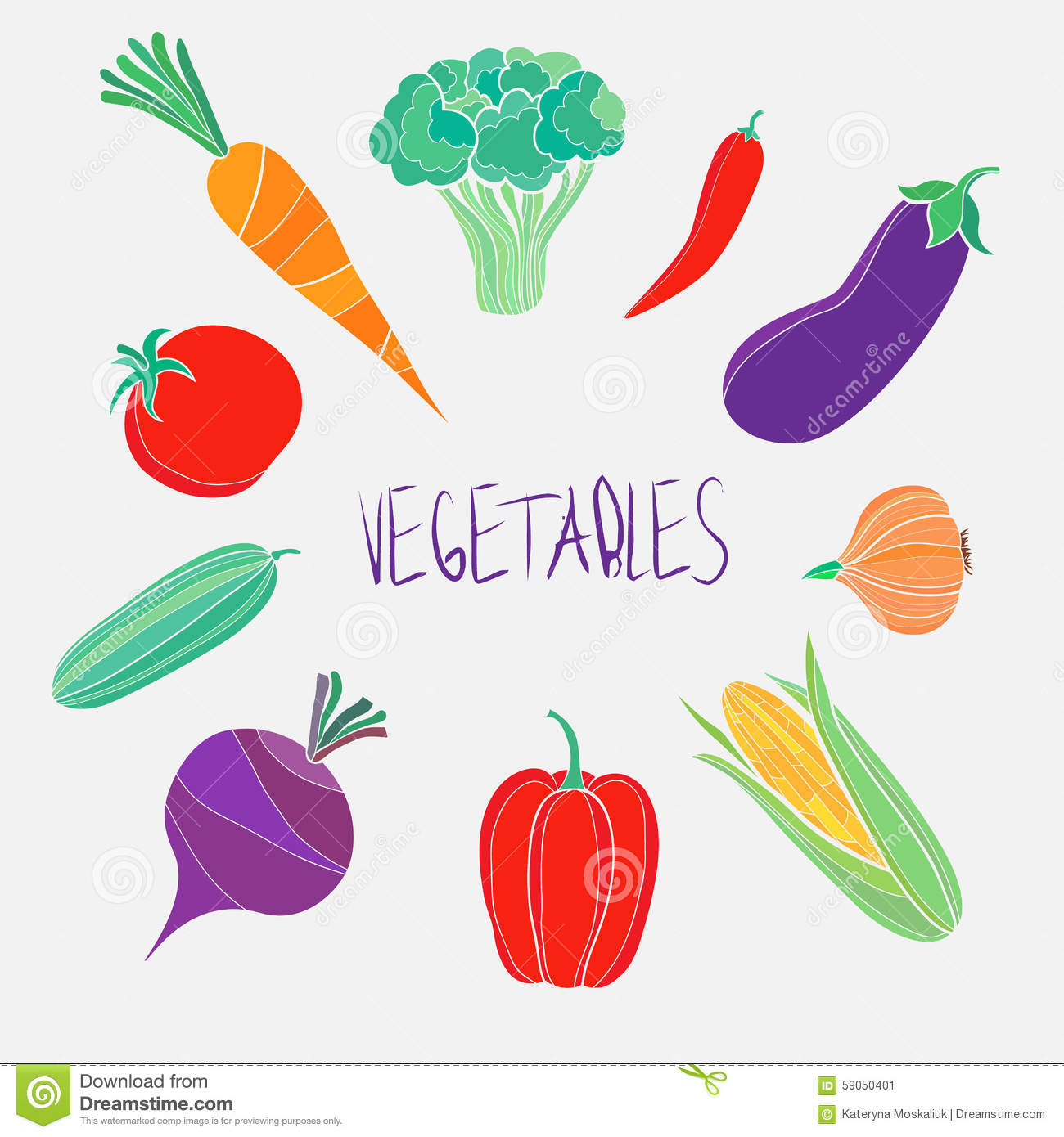 vector organic food colorful vegetables template stock vector