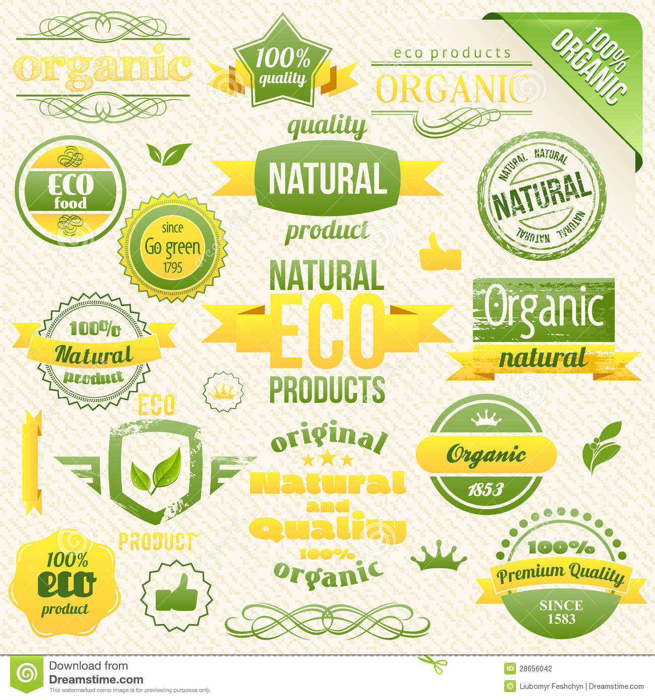 Vector Organic Food, Eco, Bio Labels And Elements Stock