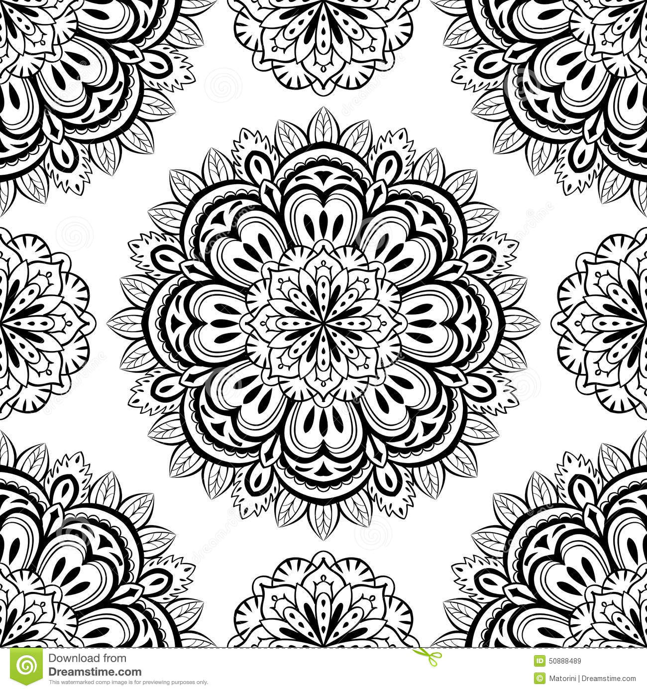 Vector, Oriental, Seamless Background With Mandalas Stock Vector ...