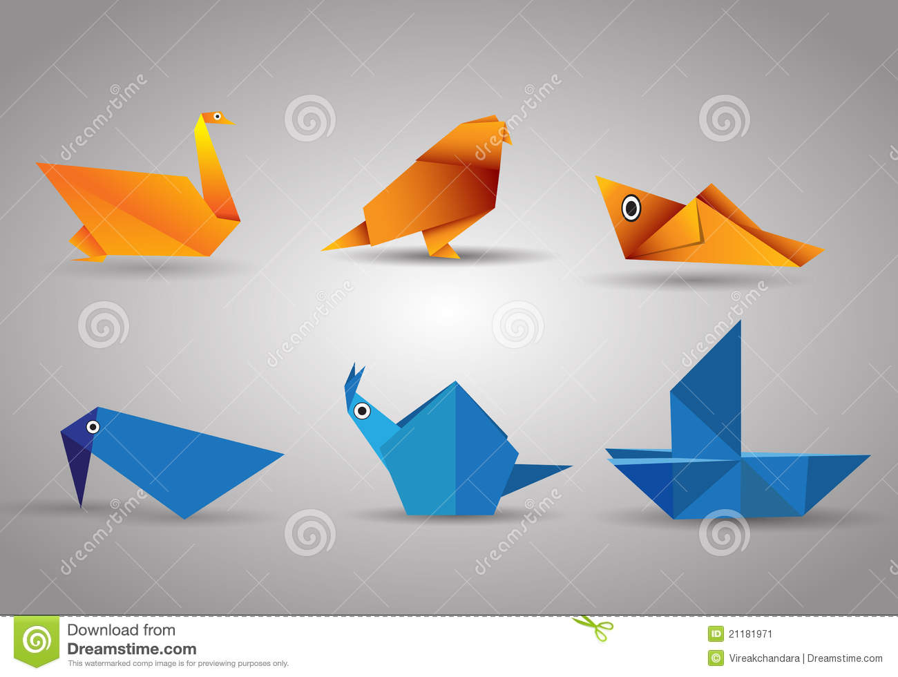 Vector origami Birds and boat
