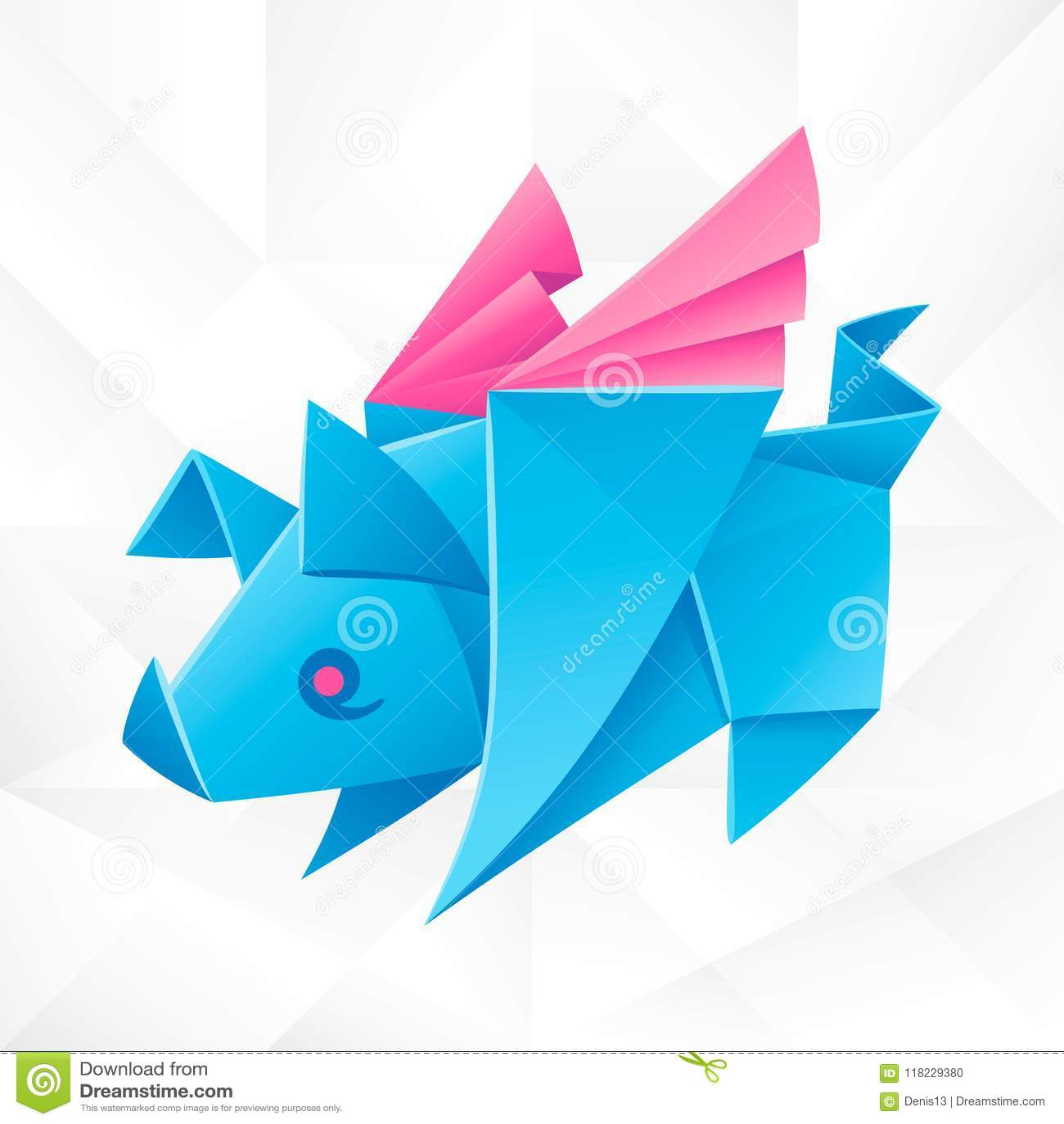 vector origami blue flying pig stock vector illustration