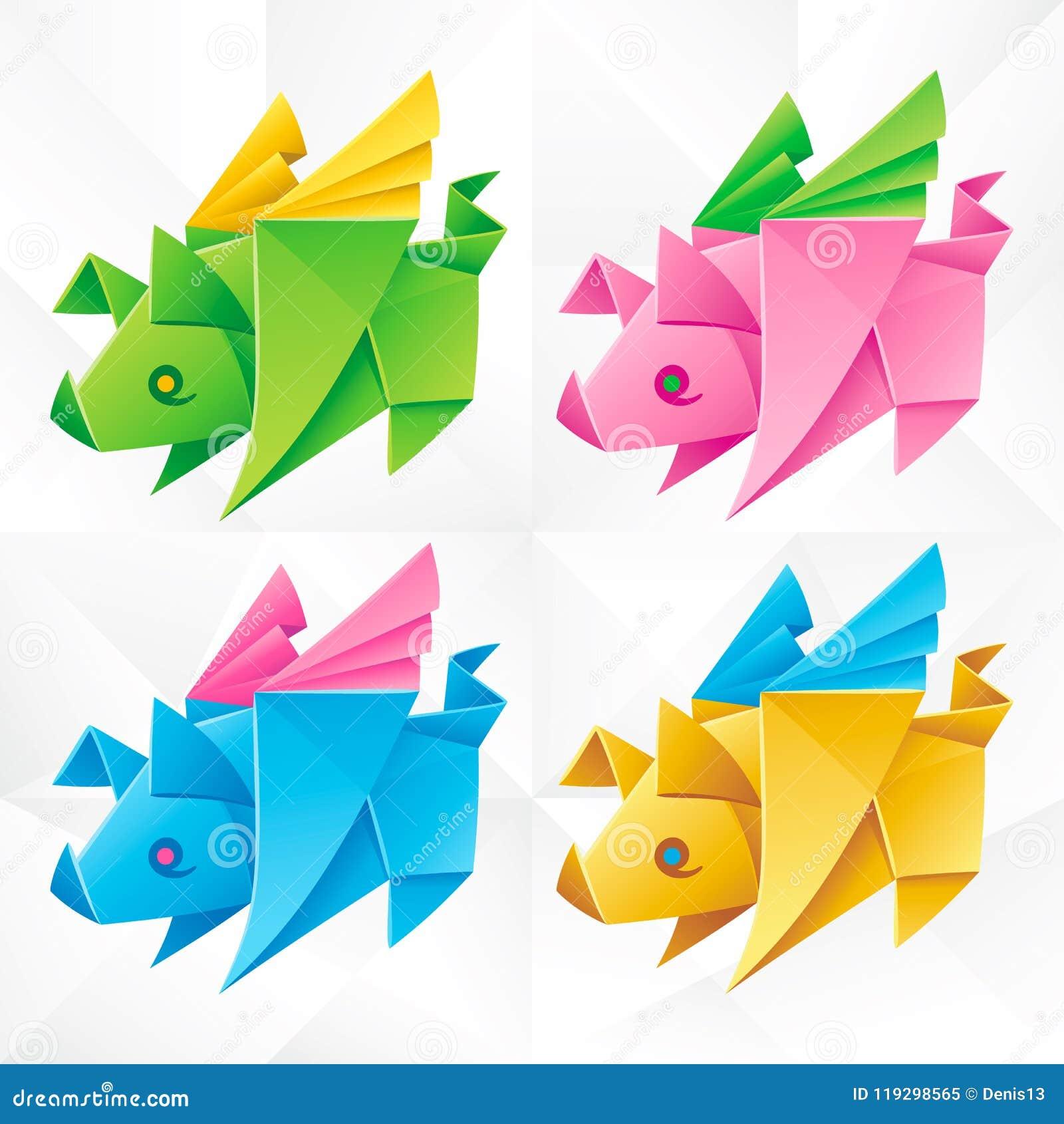 Vector Origami Flying Pig Set