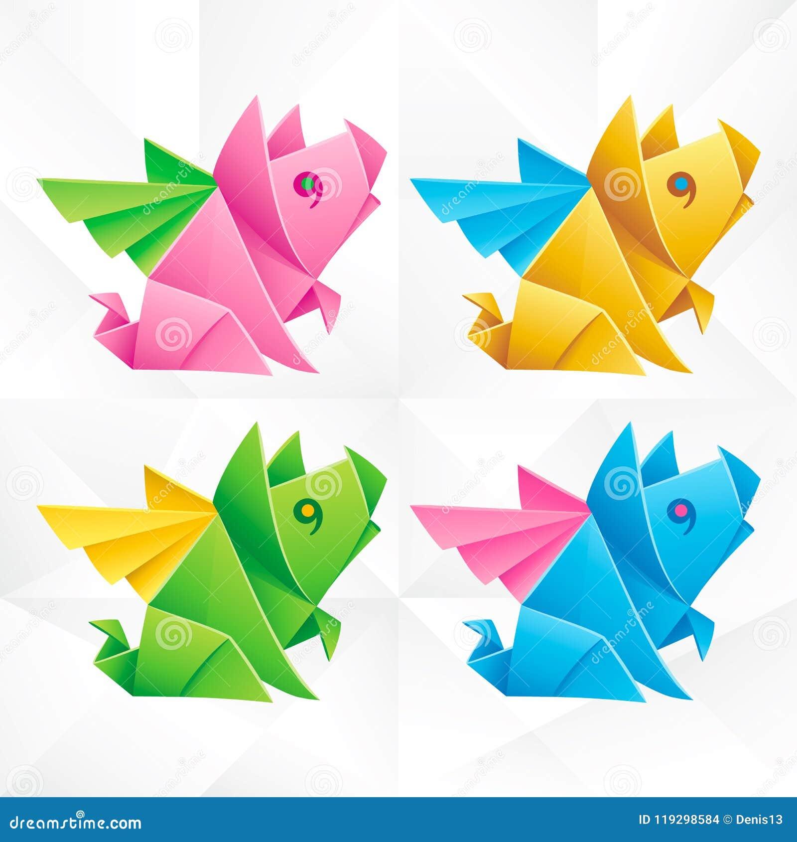 vector origami flying pig set stock vector illustration