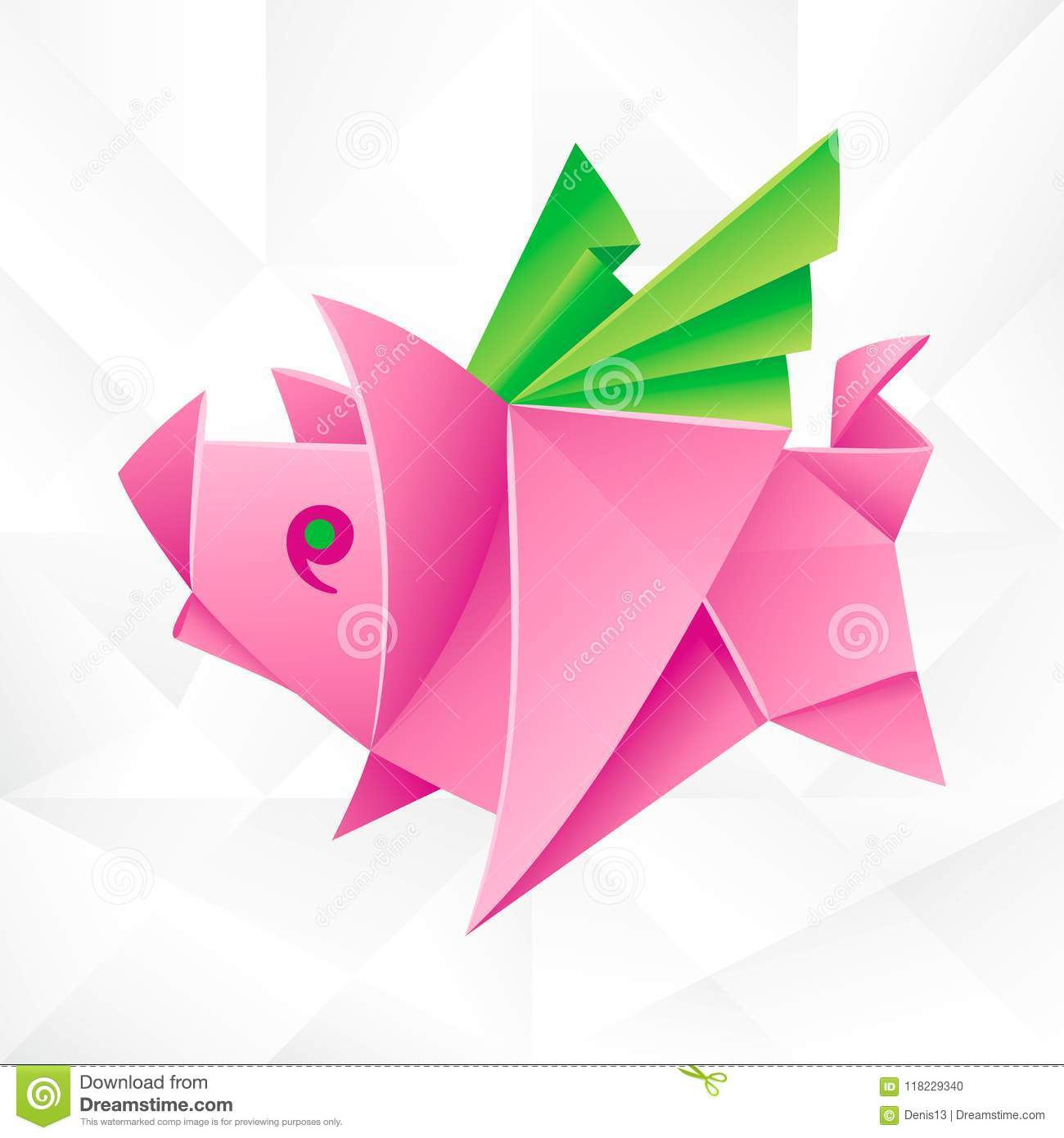 Vector Origami Pink Flying Pig