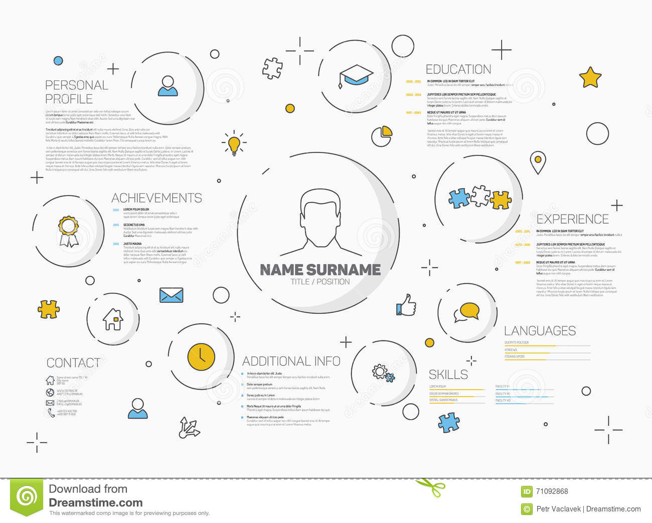 vector original creative cv    resume template stock illustration