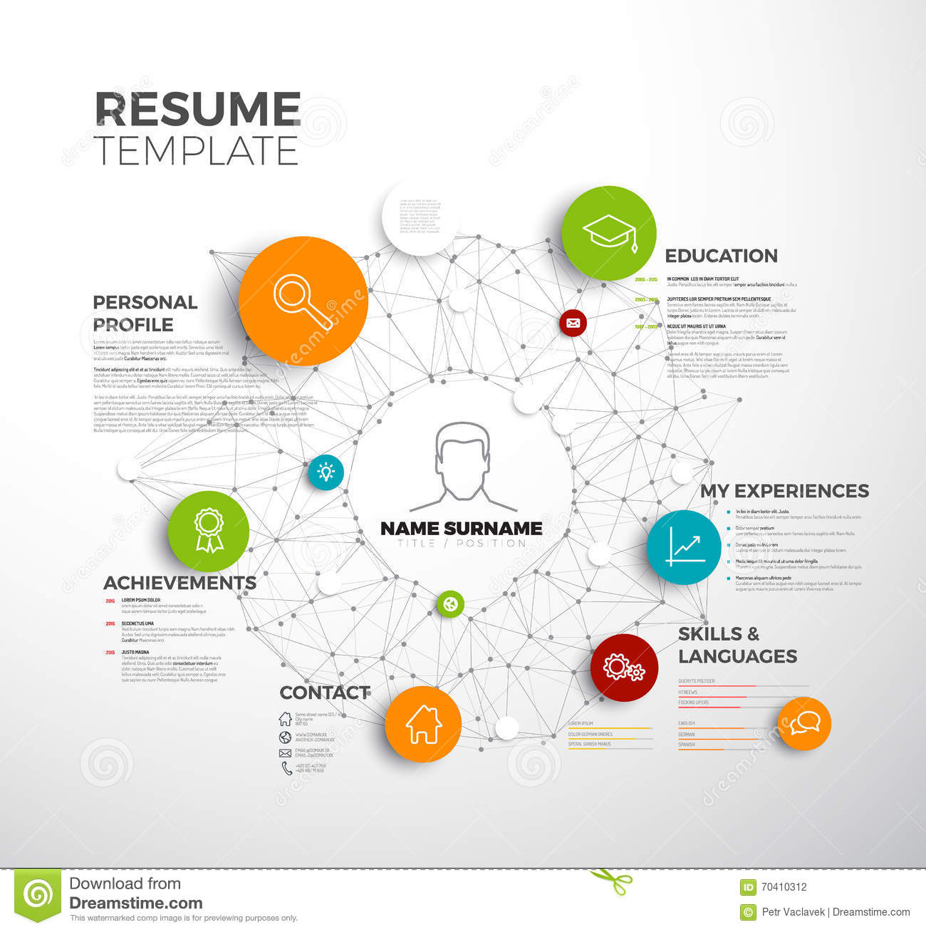 vector original minimalist cv    resume template stock illustration