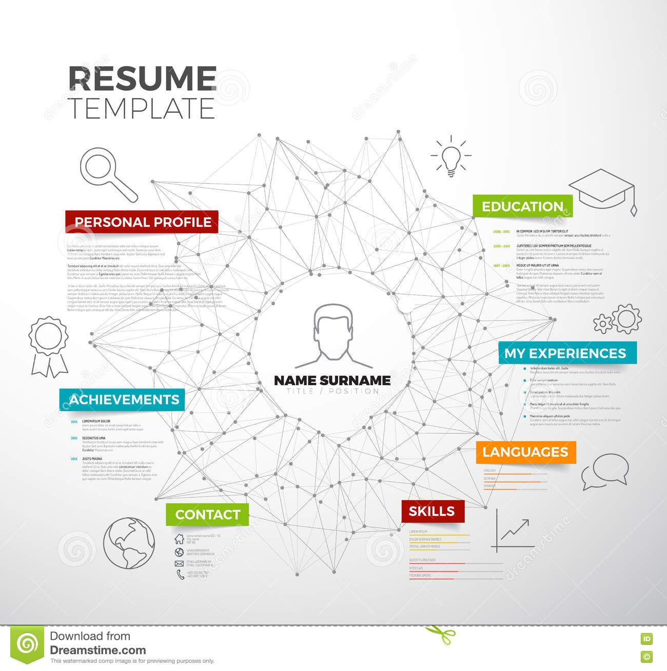 vector original creative cv    resume template vector illustration
