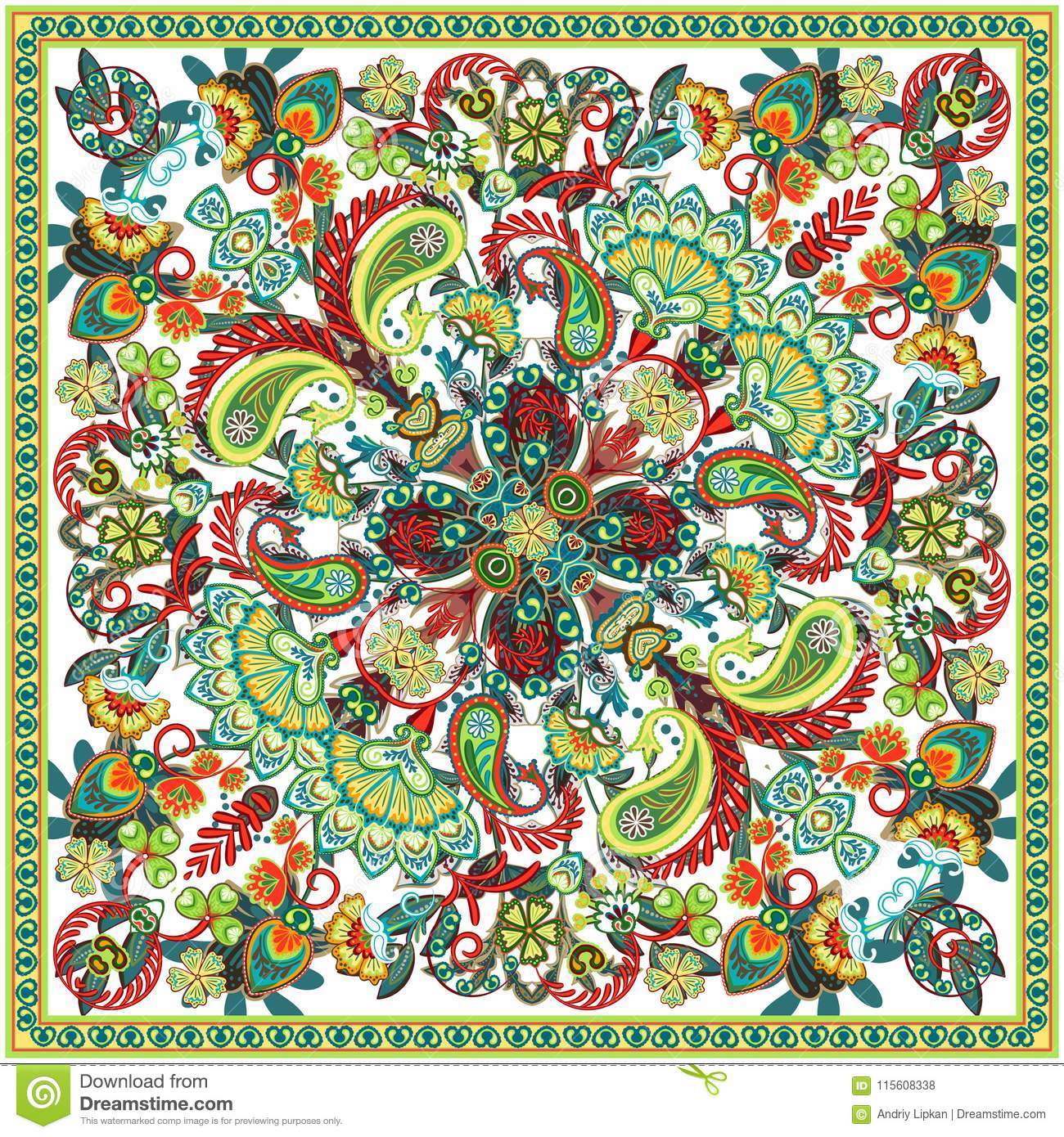 a1b0ae4b1f Vector Ornament Paisley Bandana Print, Silk Neck Scarf Or Kerchief ...