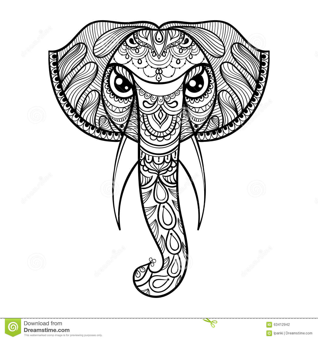 Henna Animals Coloring Pages : Vector ornamental head of elephant ethnic zentangled