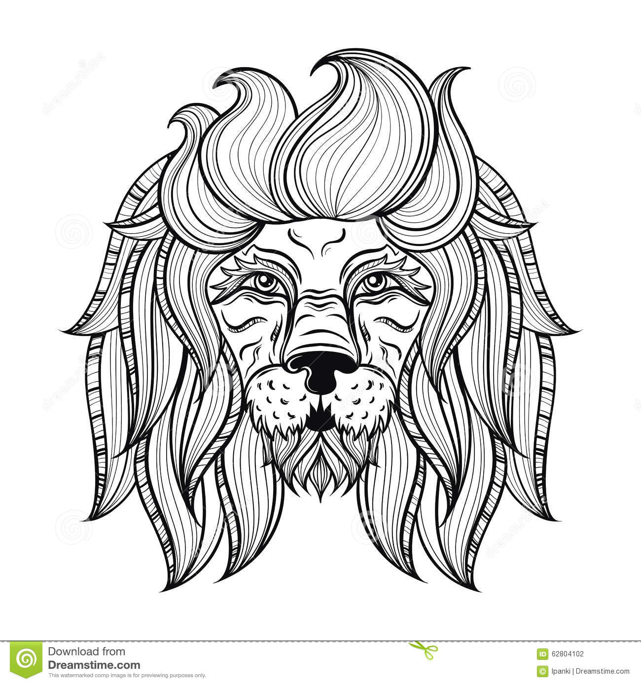 Vector Ornamental Lion Ethnic Patterned Head Hand Drawn