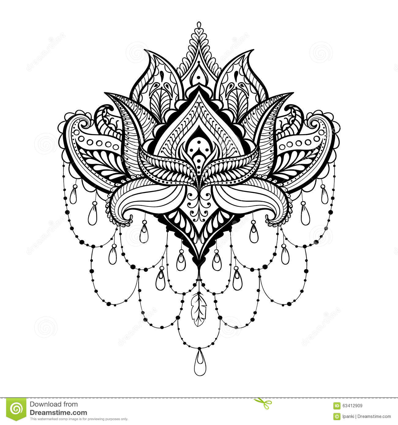 Vector Ornamental Lotus Ethnic Zentangled Henna Tattoo Pattern Stock