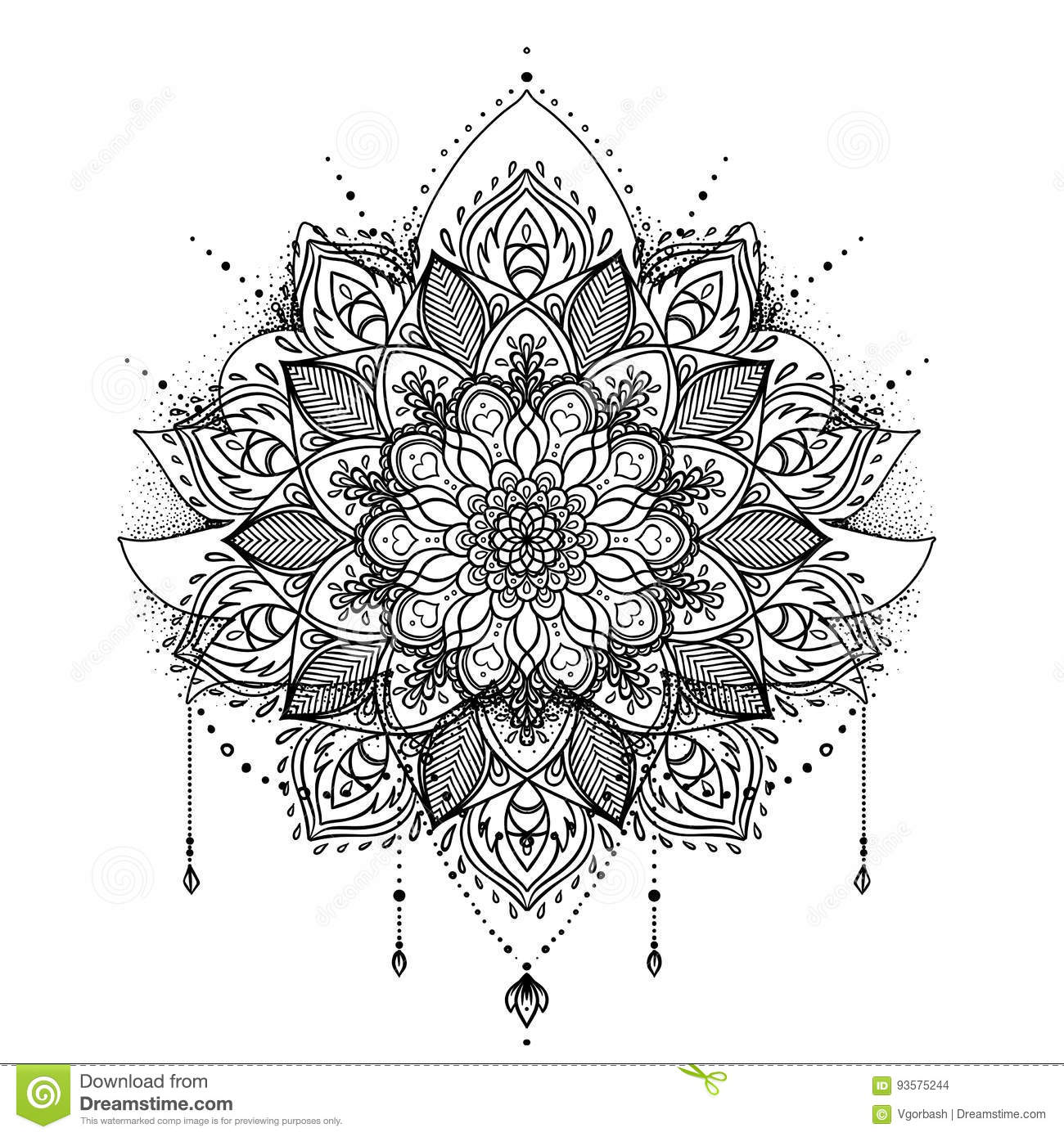 Vector Ornamental Lotus Flower Ethnic Art Patterned Indian Pai