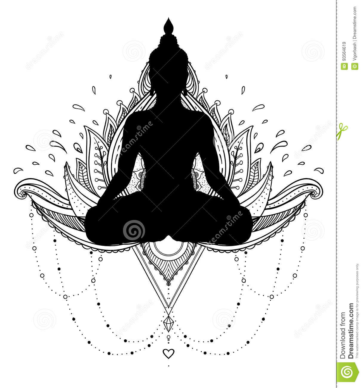Vector Ornamental Lotus Flower With Silhouette Of Buddha Ethnic