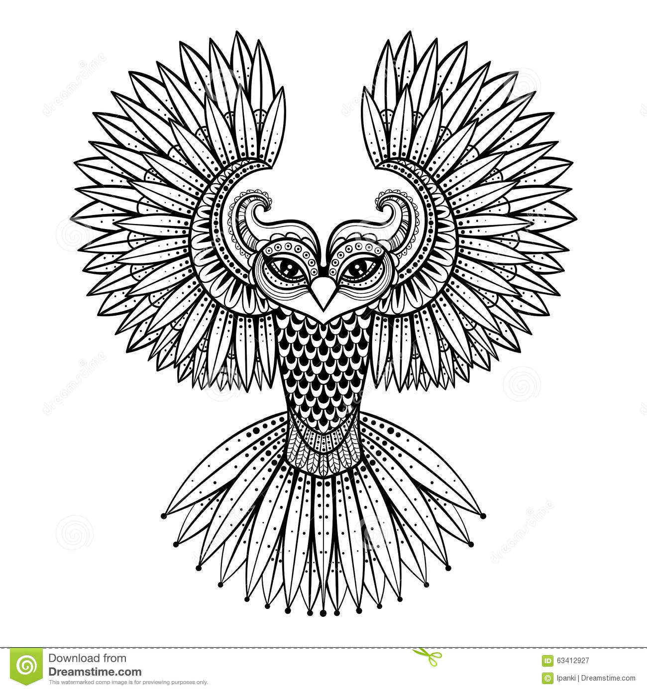Vector Ornamental Owl Ethnic Zentangled Mascot Amulet