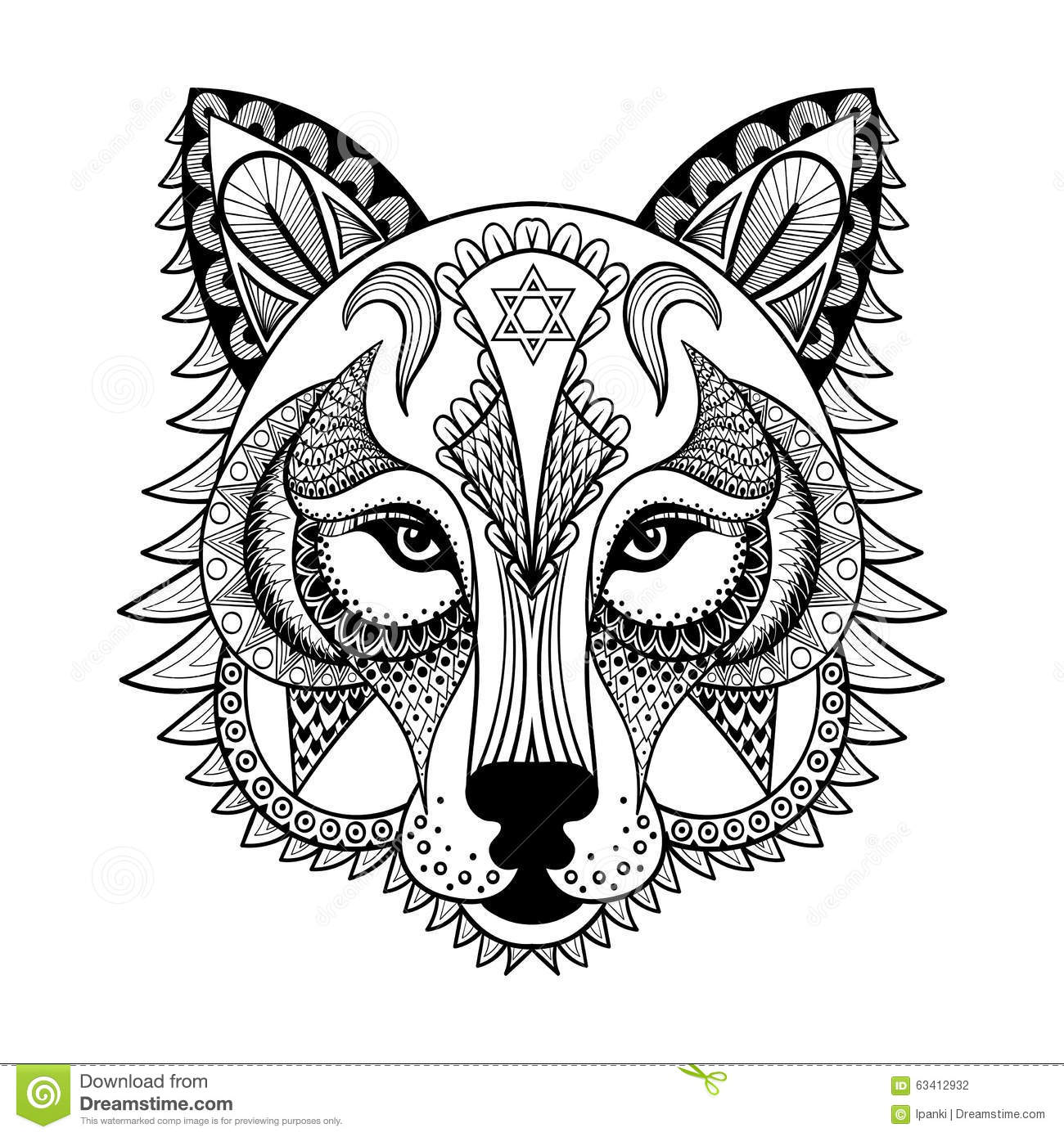 Vector Ornamental Wolf Ethnic Zentangled Mascot Amulet Mask Stock Image 63412932