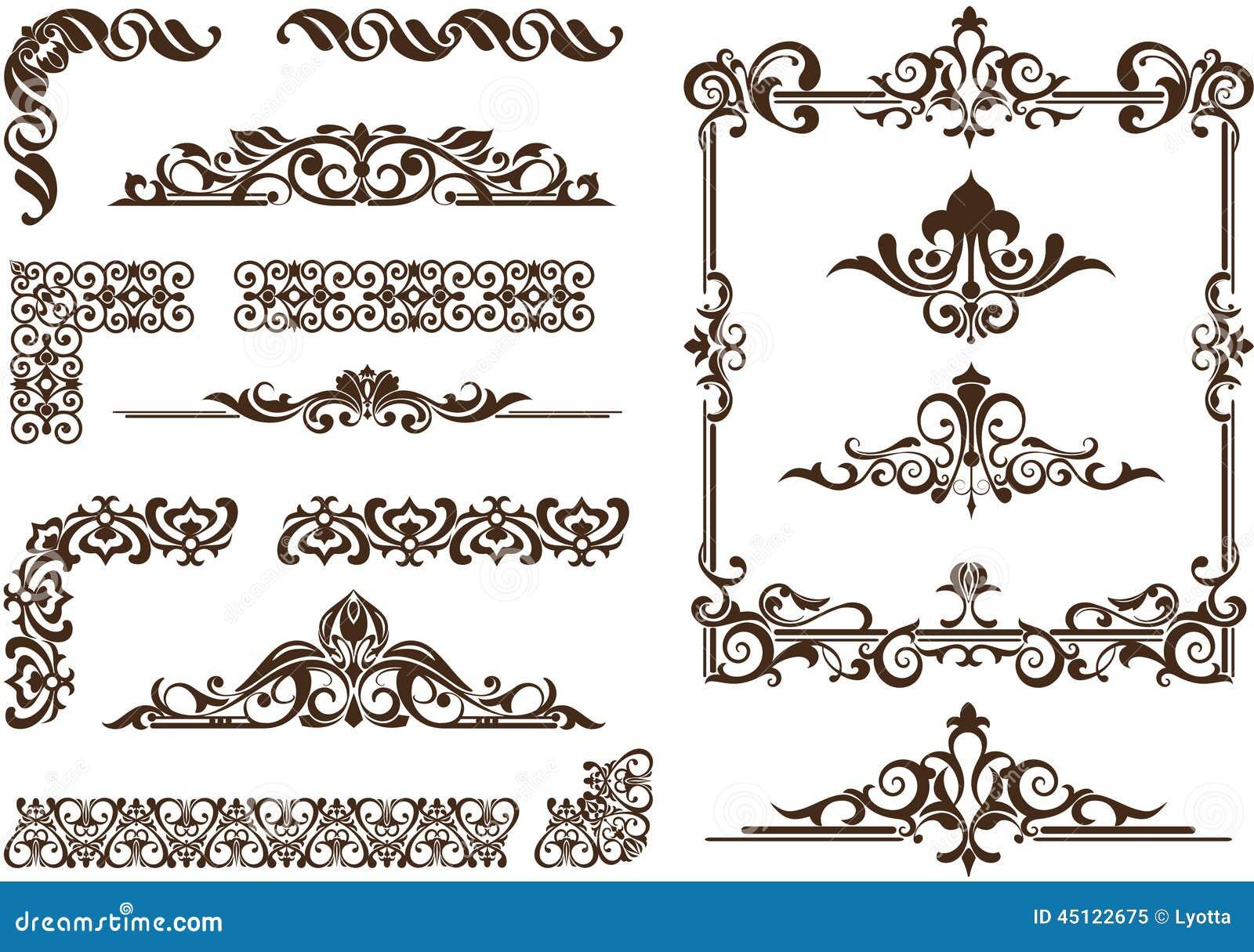 Vector Ornaments Frames, Corners, Borders Stock Vector - Image: 45122675