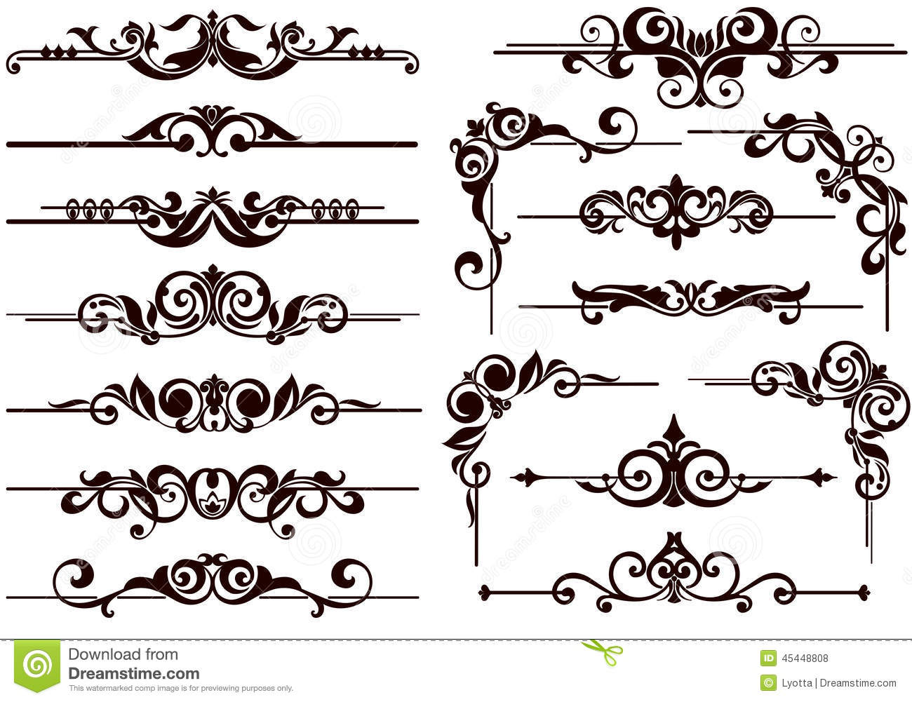 Vintage style ornaments - Vector Ornaments Frames Corners Borders Royalty Free Stock Photos