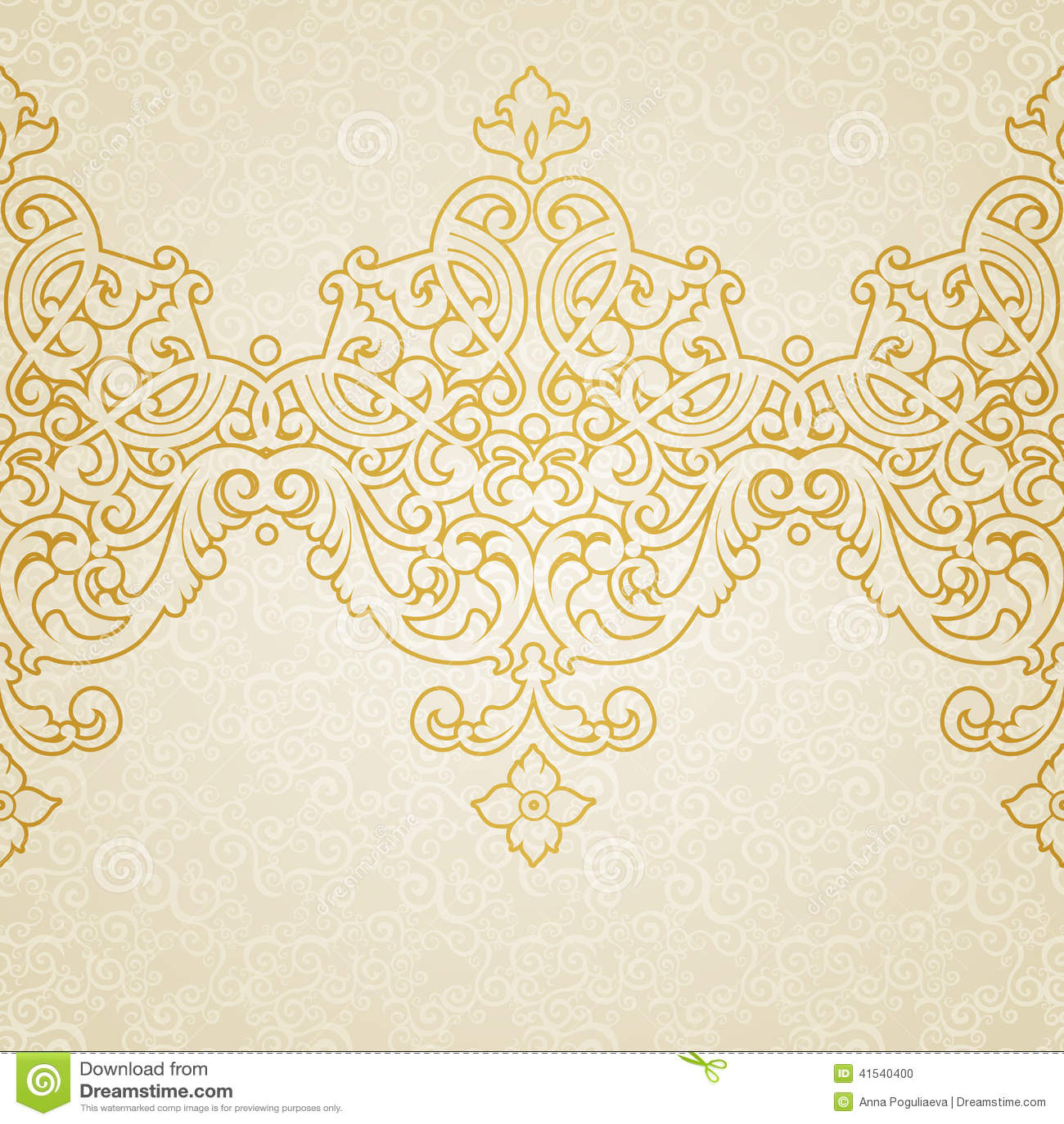 Vintage baroque floral golden ornament vector stock vector image - Vector Ornate Border In Victorian Style Stock Vector