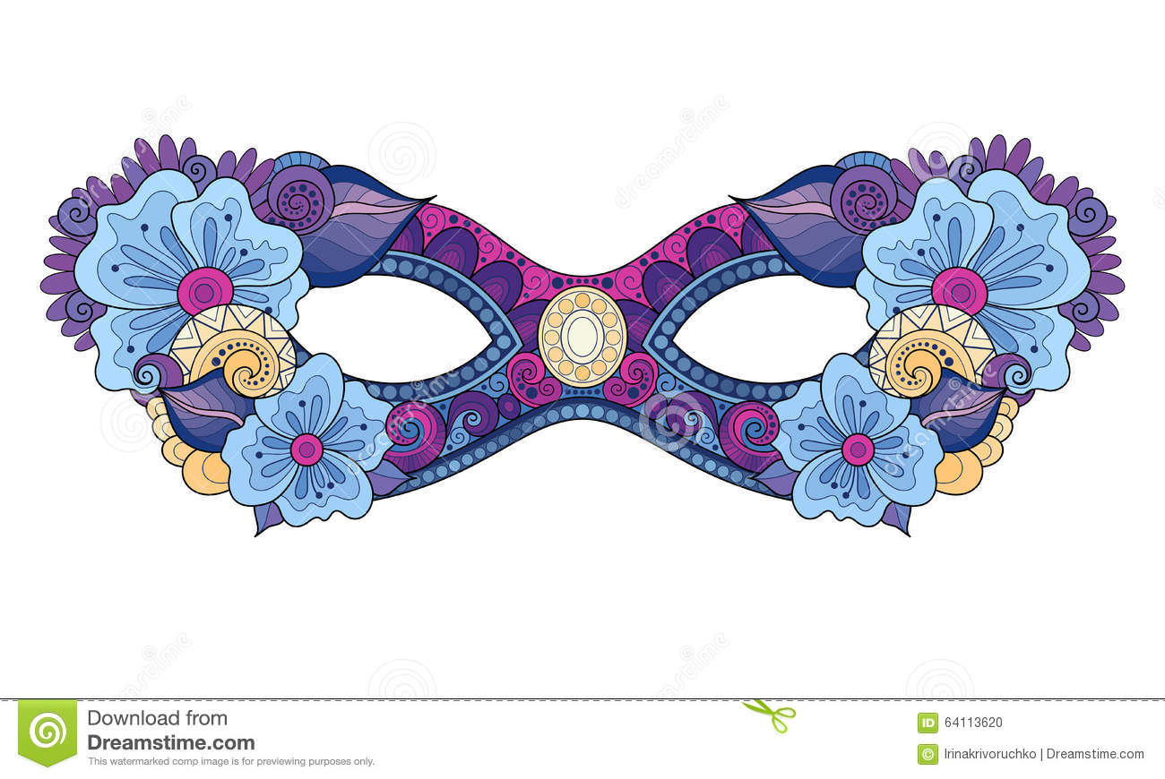 Royalty Free Vector Download Ornate Colored Mardi Gras Carnival Mask With Decorative Flowers Stock