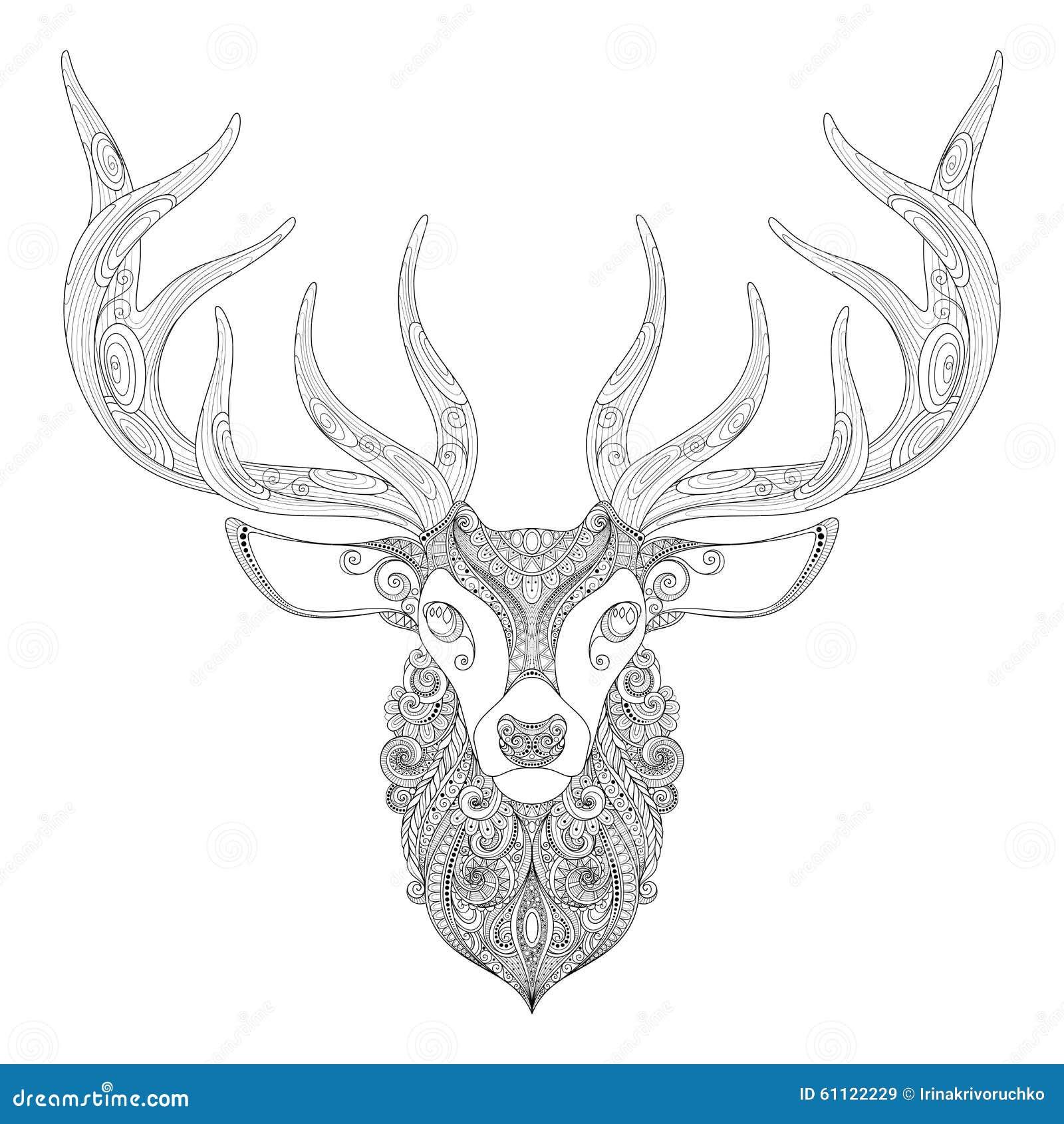 christmas deer head doodle zentangle vector illustration. Black Bedroom Furniture Sets. Home Design Ideas