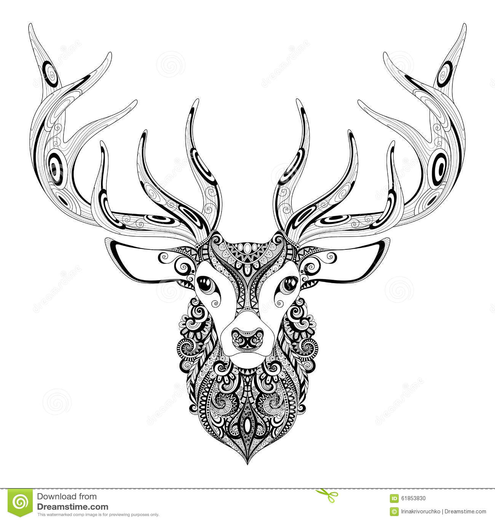 Vector Ornate Deer Horned Head Stock Vector - Illustration