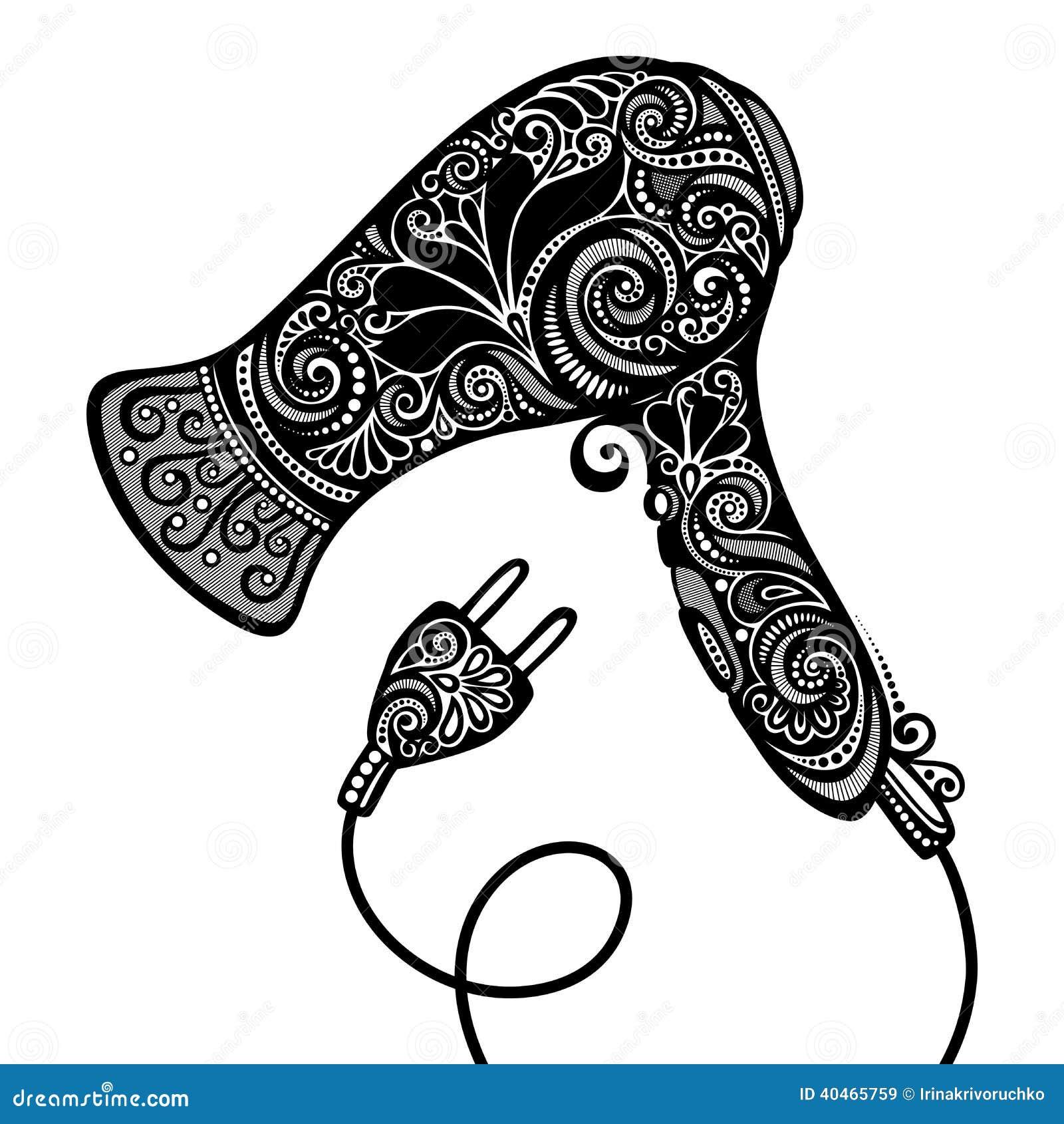 Vector Ornate Hairdryer Stock Vector Image 40465759