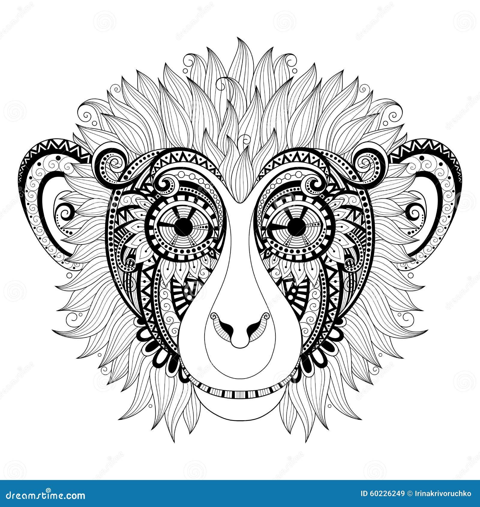 Vector Ornate Monkey Head stock