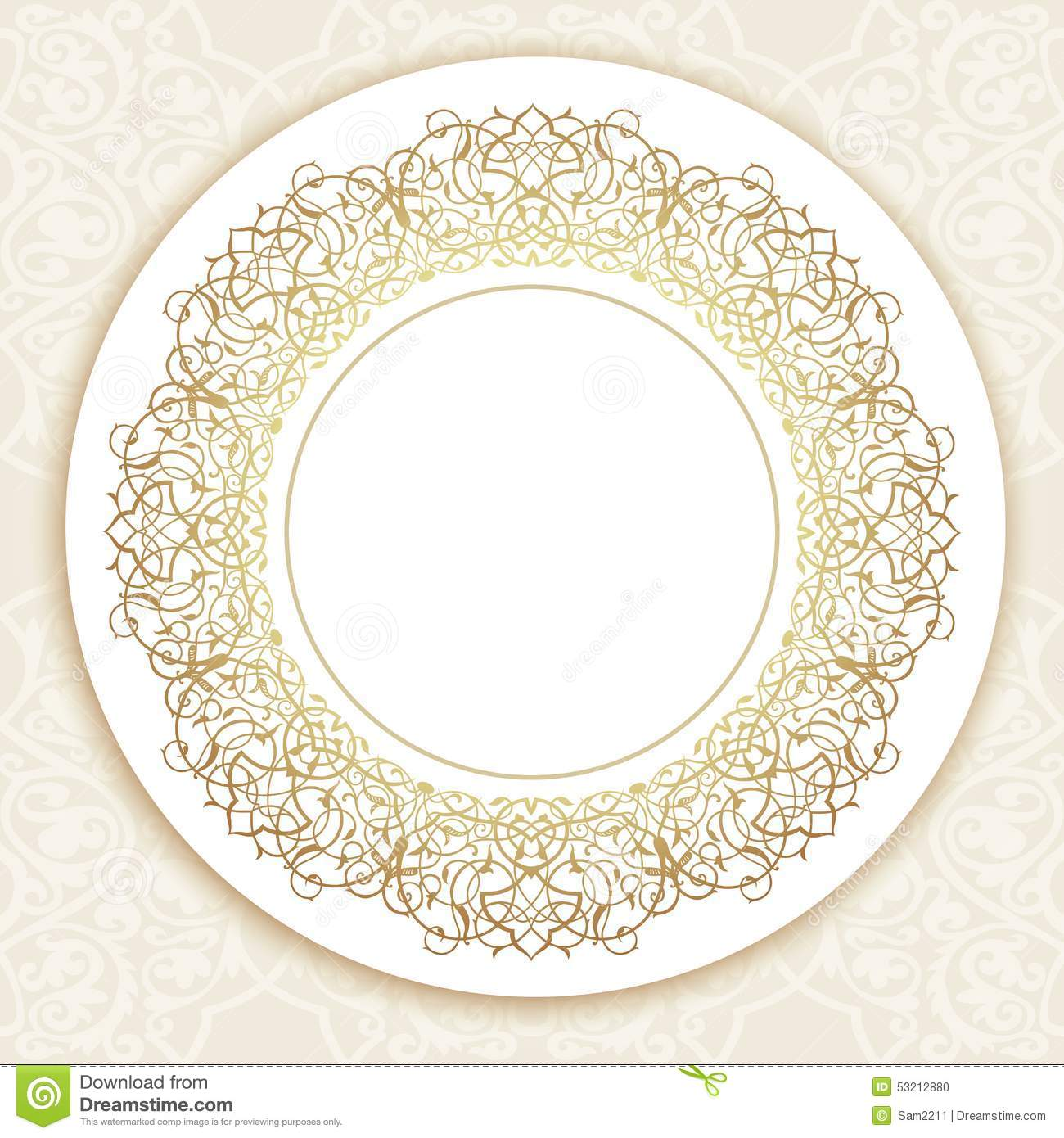 Vector Ornate Round Border In Eastern Style. Stock Vector ...