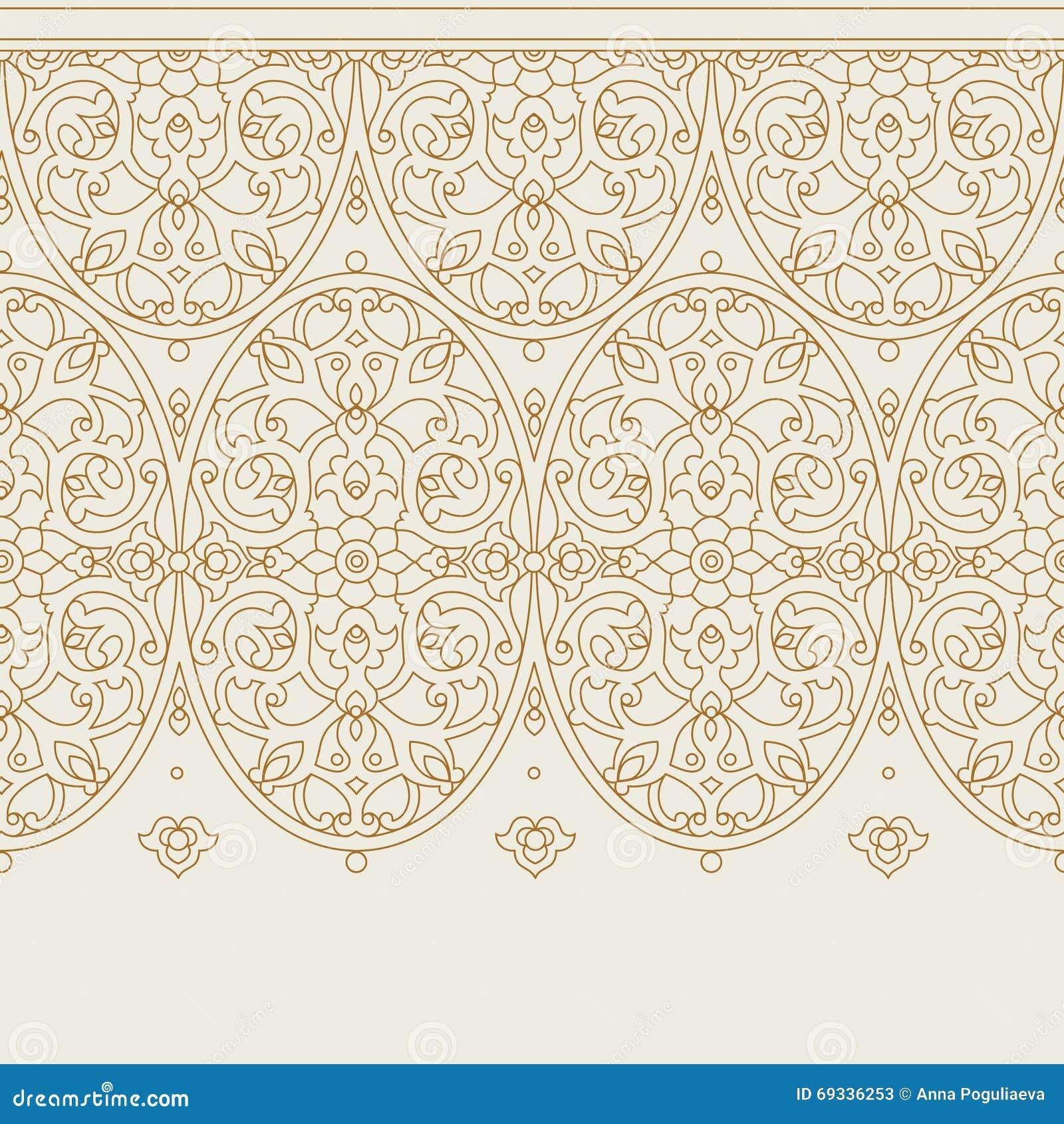 Frame Design Line Art : Vector ornate seamless border in eastern style stock