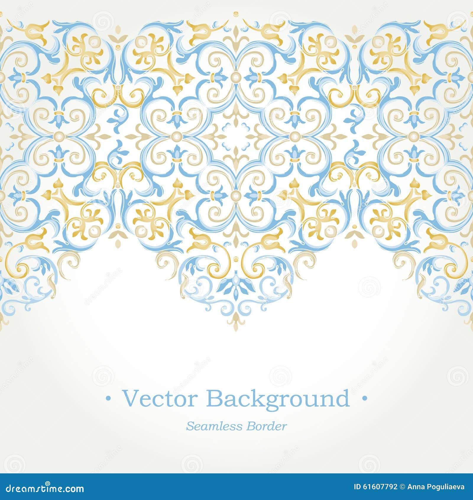 Vector Ornate Seamless Border In Eastern Style. Stock ...