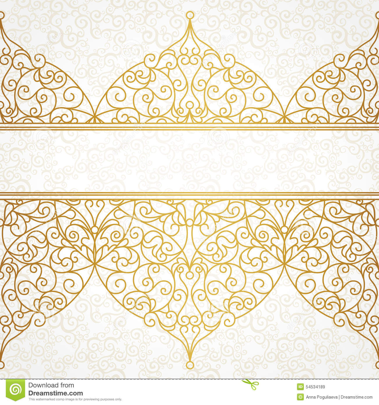 Vintage baroque floral golden ornament vector stock vector image - Vector Ornate Seamless Border In Eastern Style Stock
