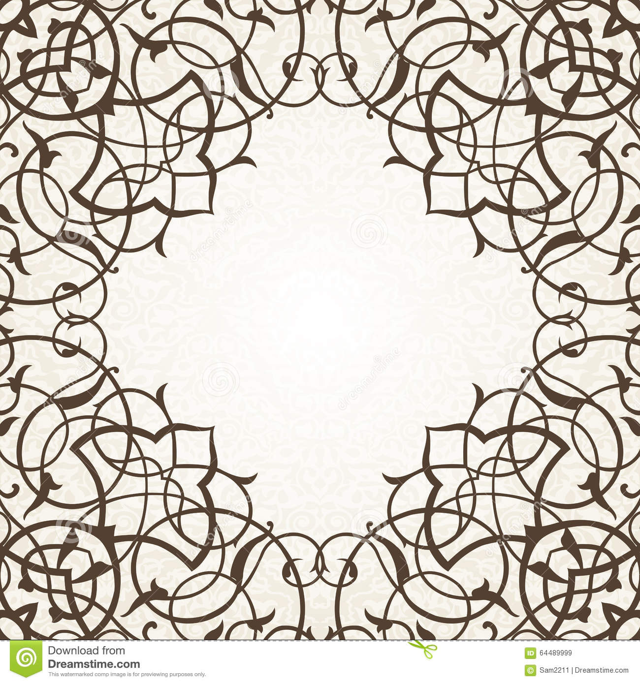 Line Art Border Design : Vector ornate seamless border in eastern style stock
