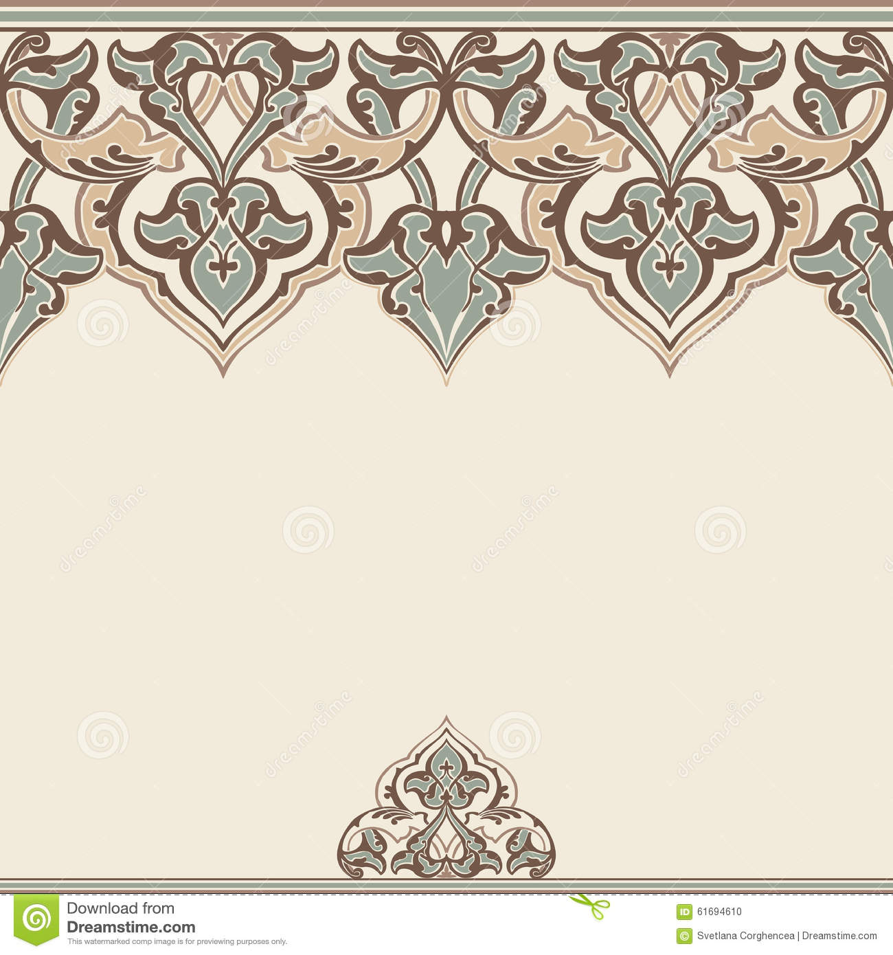 Vector ornate seamless border in eastern style stock for Decor outline