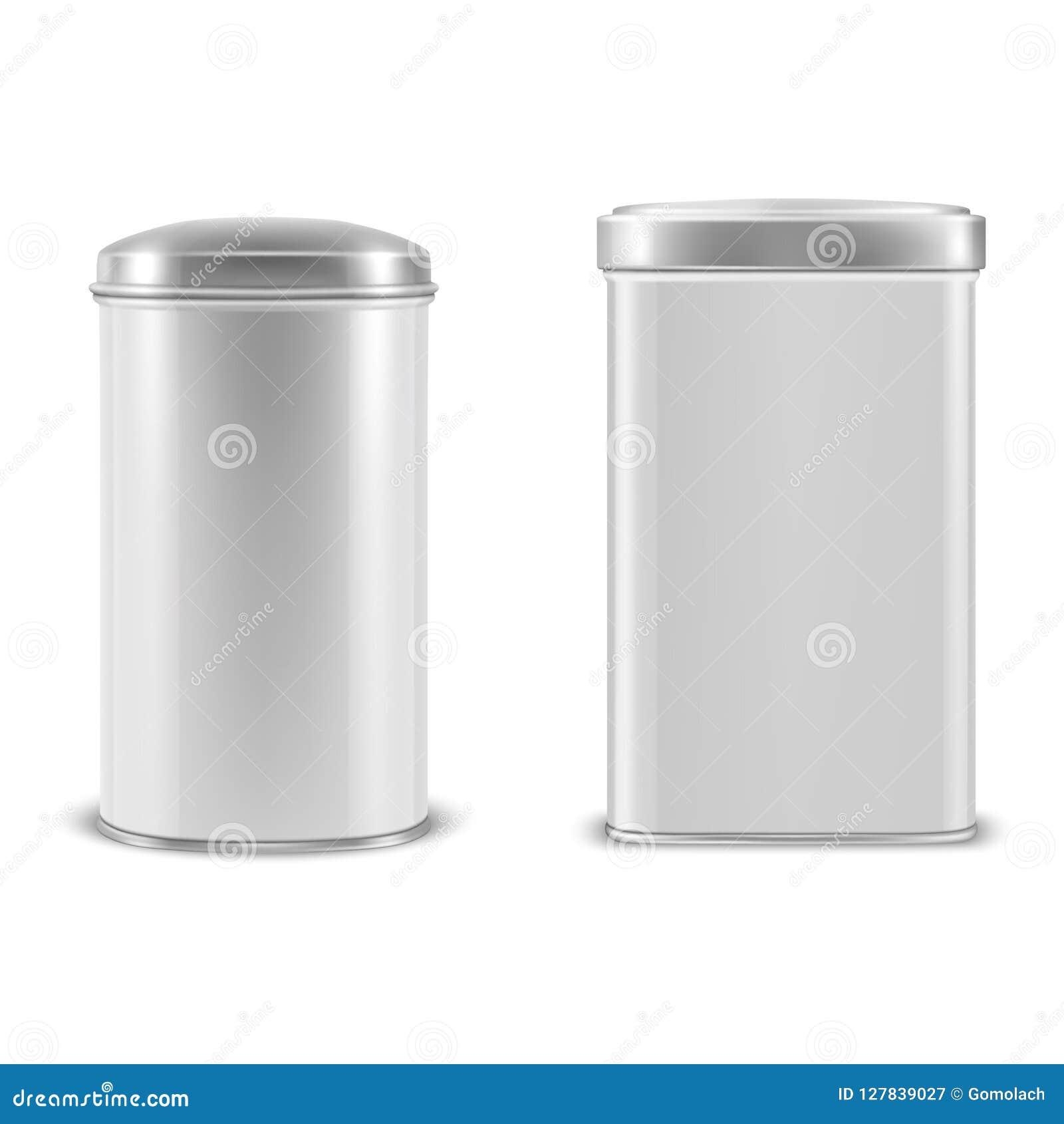 Vector Os Recipientes De Alumínio Da Lata De Lata Do Metal 3d Vazio