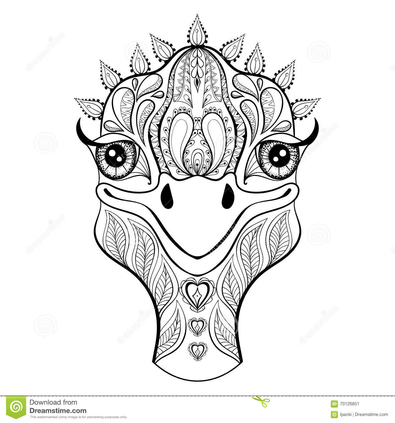 Vector Ostrich For Adult Coloring Page. Hand Drawn Funny Ostrich ...